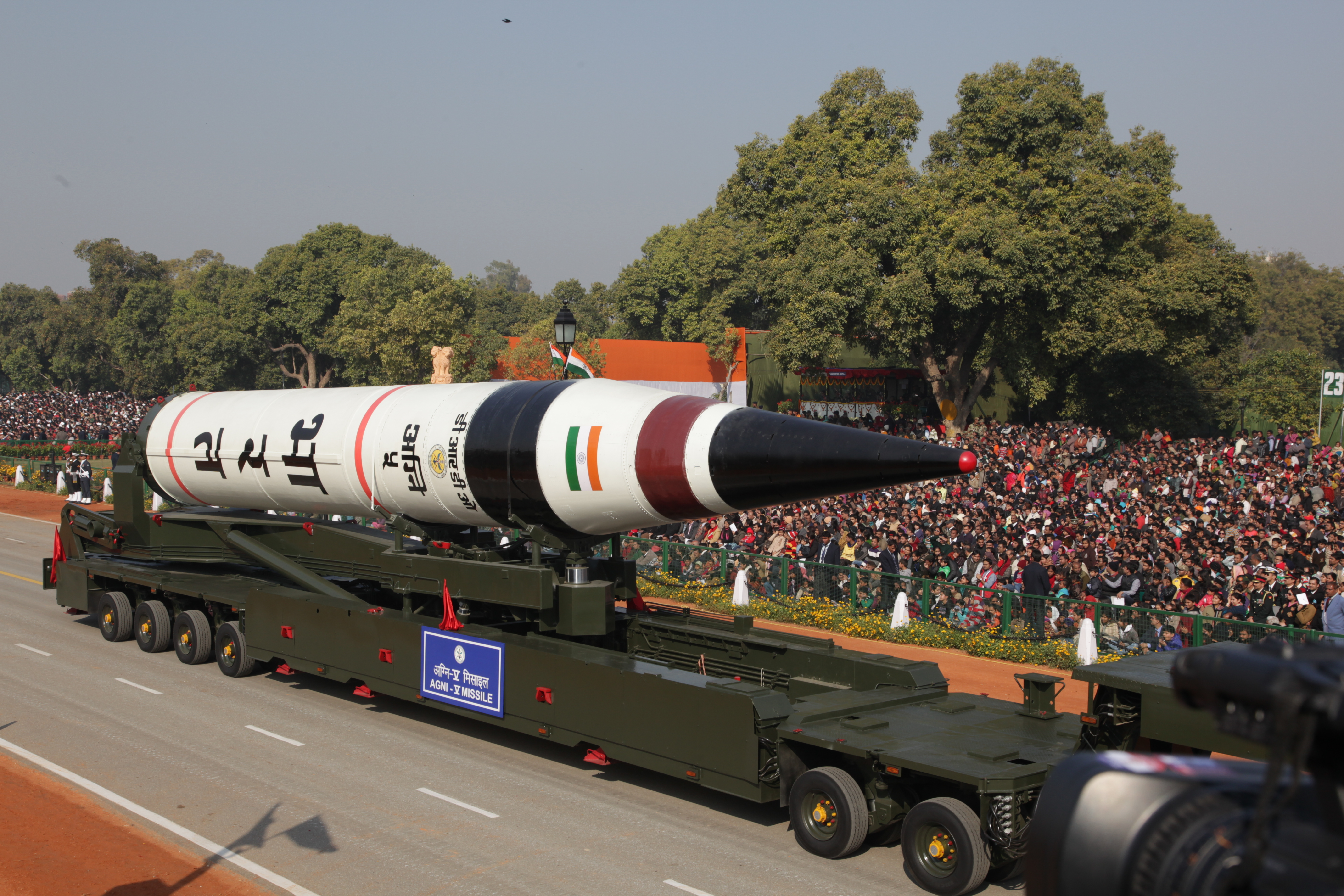 India's long range Agni-5 ballistic missile, seen as part of a 65th Republic Day parade in New Delhi on Jan. 26, 2013.