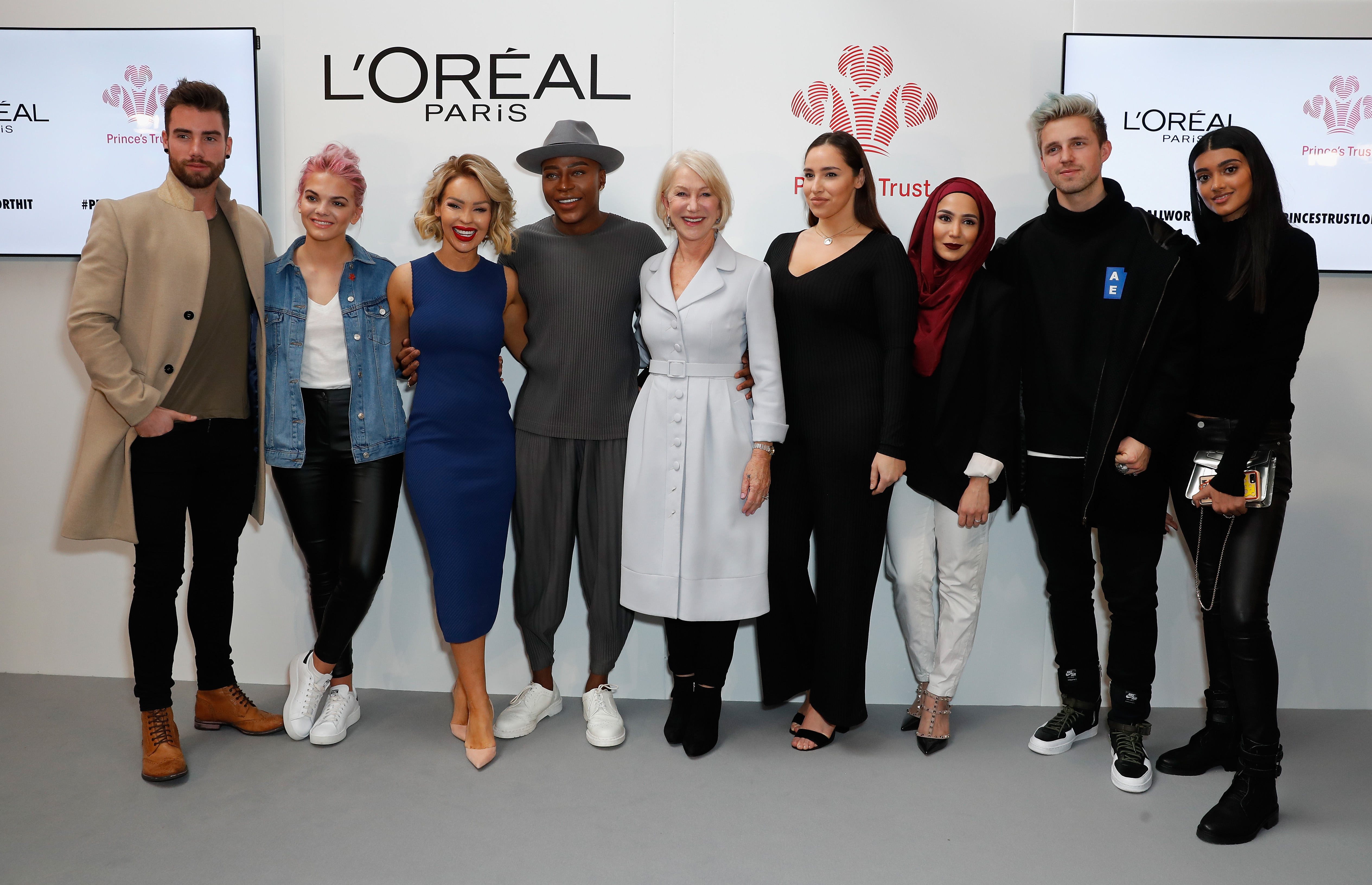"Chez Rust, Louisa Johnson, Katie Piper, Gary, Helen Mirren; Jada Sezer, Amena Khan, Marcus Butler and Neelam Gill attend the The Princes Trust and L'Oréal Paris launch of the ""All Worth It"" program, which will transform self-doubt into self-worth for 10,000 young people at The Princes Trust Centre in London, England, on February 23, 2017."