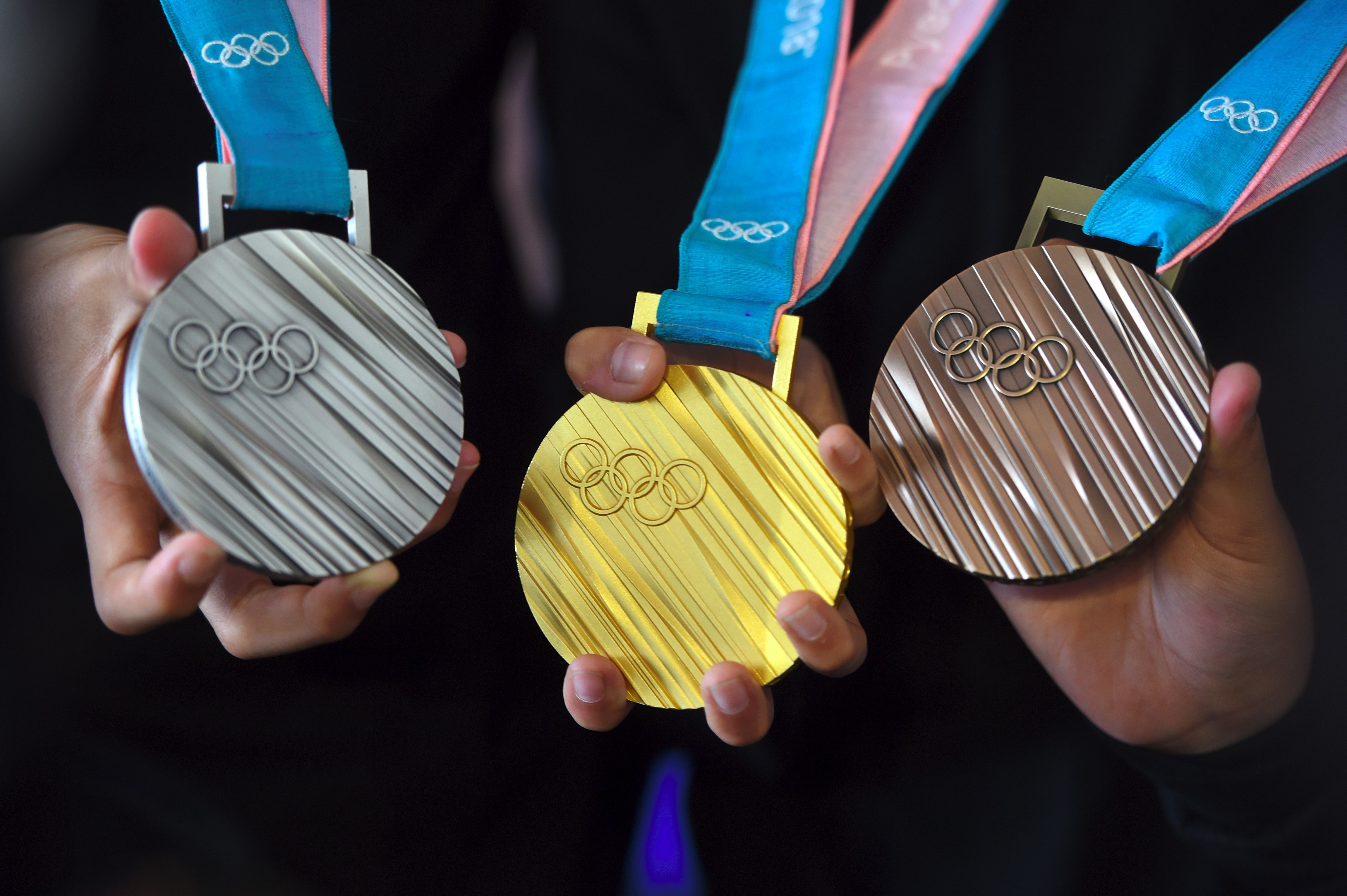The PyeongChang 2018 Olympic medals in silver, gold and bronze.