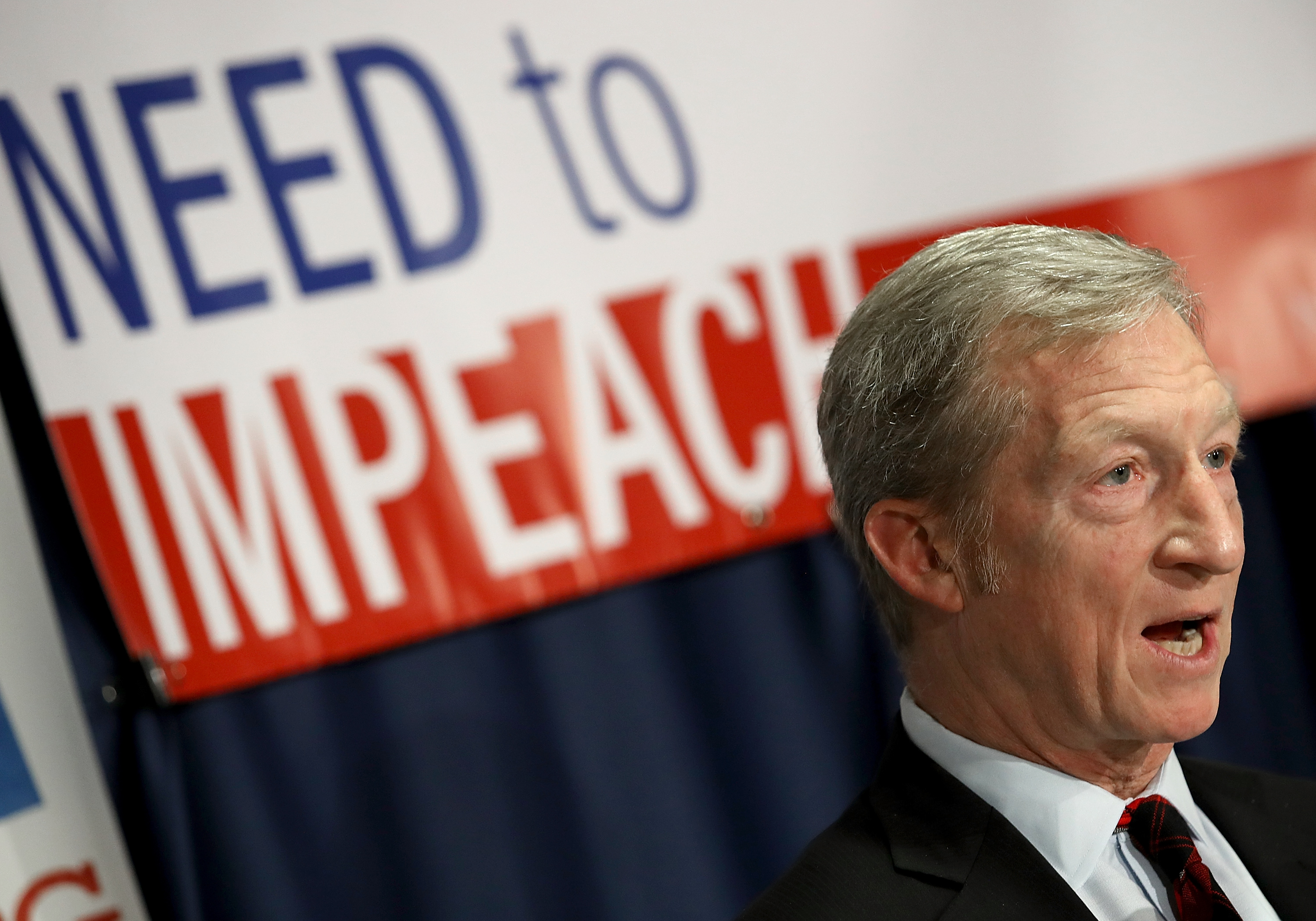 Billionaire hedge fund manager and philanthropist Tom Steyer speaks during a press conference at the National Press Club December 6, 2017 in Washington, DC. Steyer, founder of the  Need To Impeach  initiative, presented legal grounds calling for the impeachment investigation of U.S. President Donald Trump during the press conference.