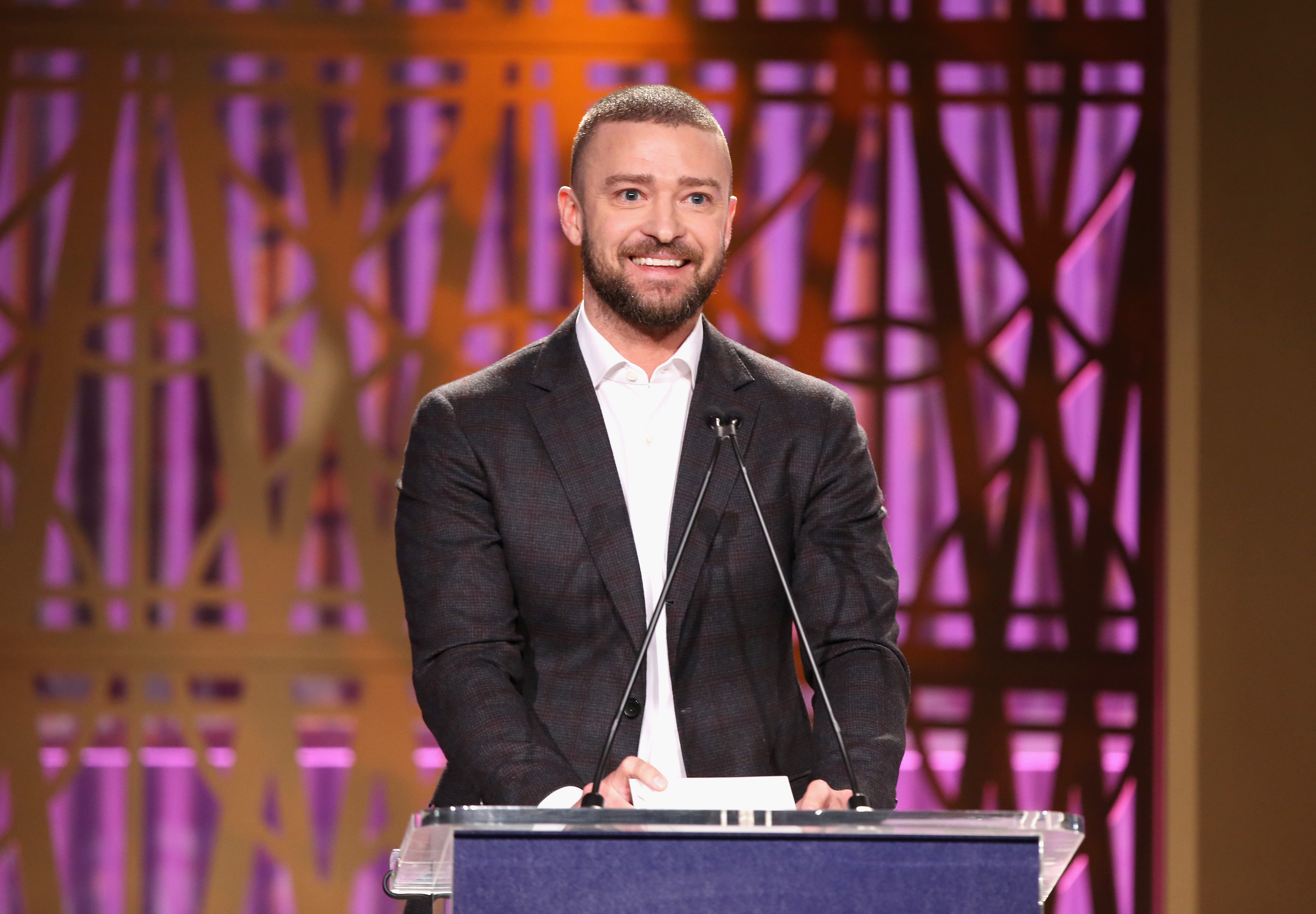 Justin Timberlake speaks onstage at The Hollywood Reporter's 2017 Women In Entertainment Breakfast at Milk Studios in Los Angeles, California on Dec. 6, 2017.