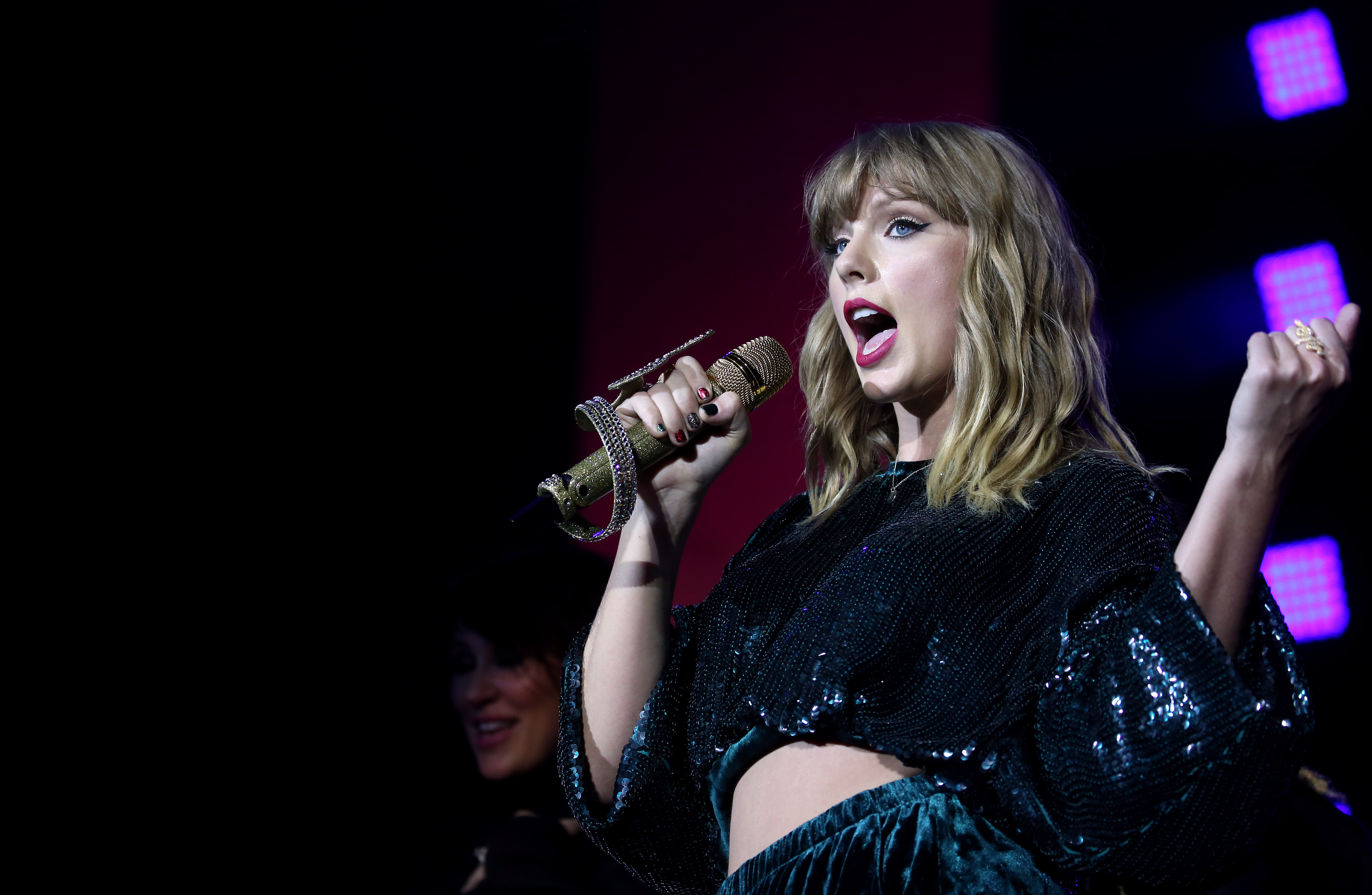 Taylor Swift performs on stage during day two of Capital's Jingle Bell Ball with Coca-Cola at London's O2 Arena.