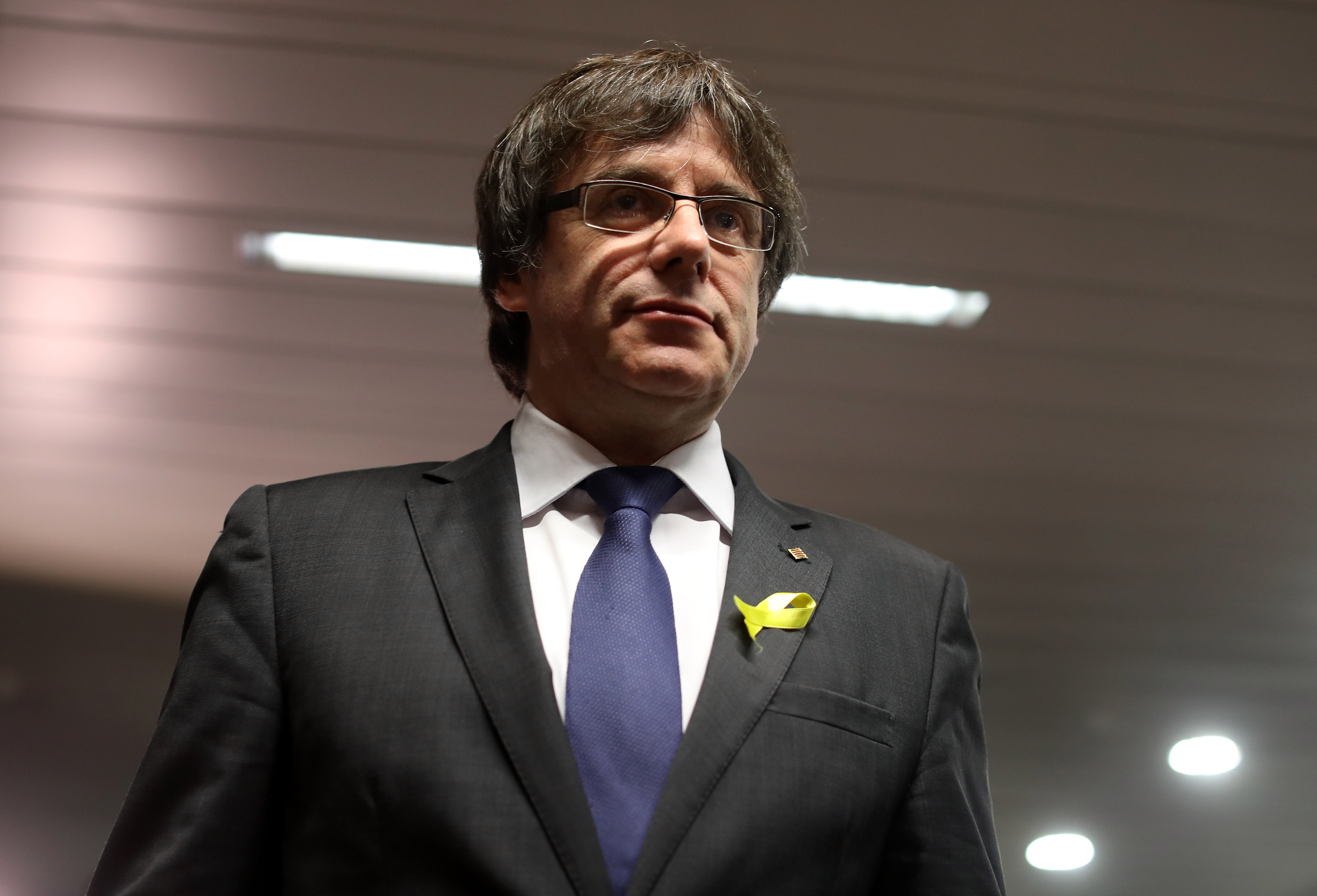 Ousted Catalan leader Carles Puigdemont attends a press conference at Brussels press club on Dec. 22, 2017 in Brussels, Belgium