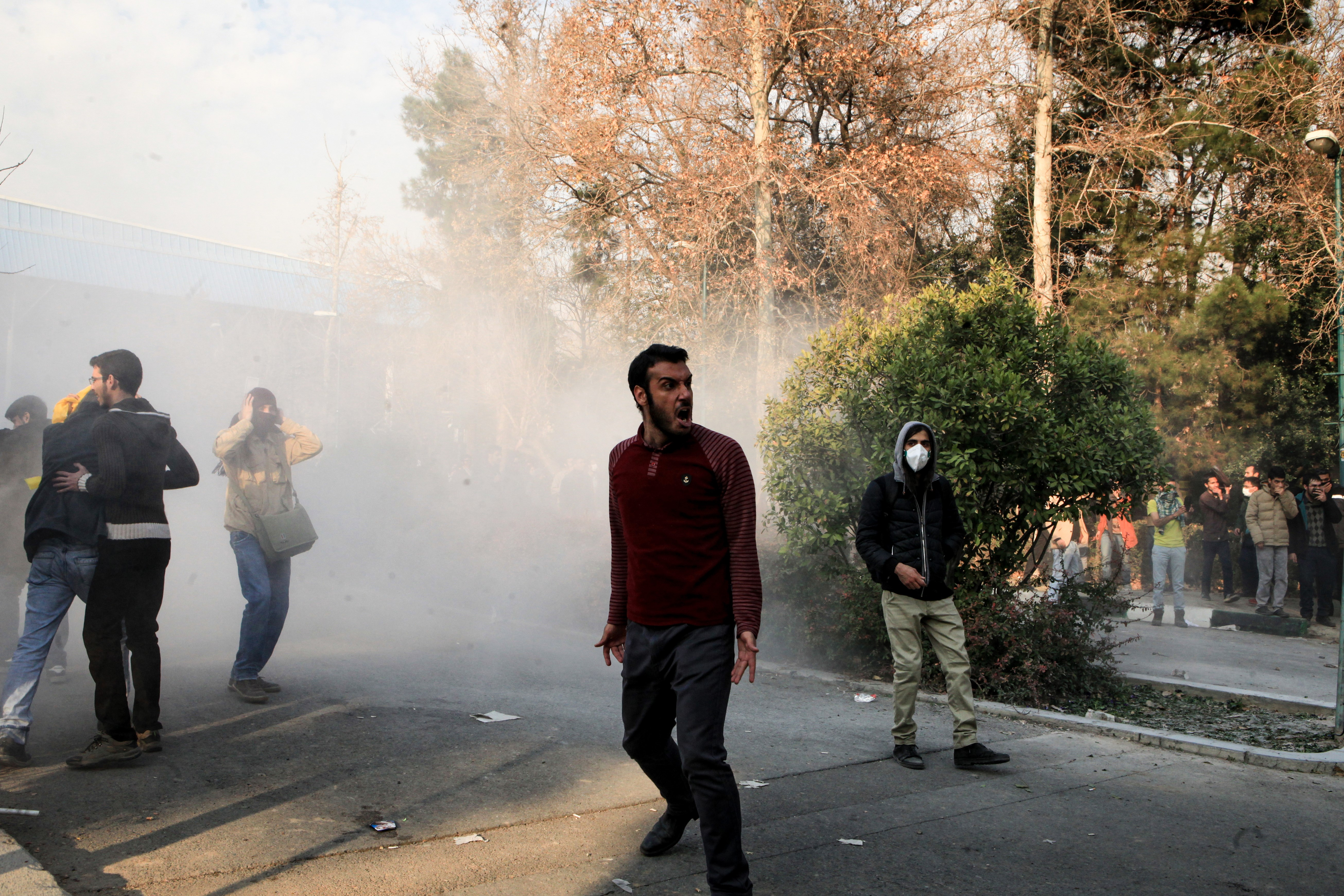 People gather to protest over the high cost of living in Tehran, Iran, on Dec. 30, 2017.