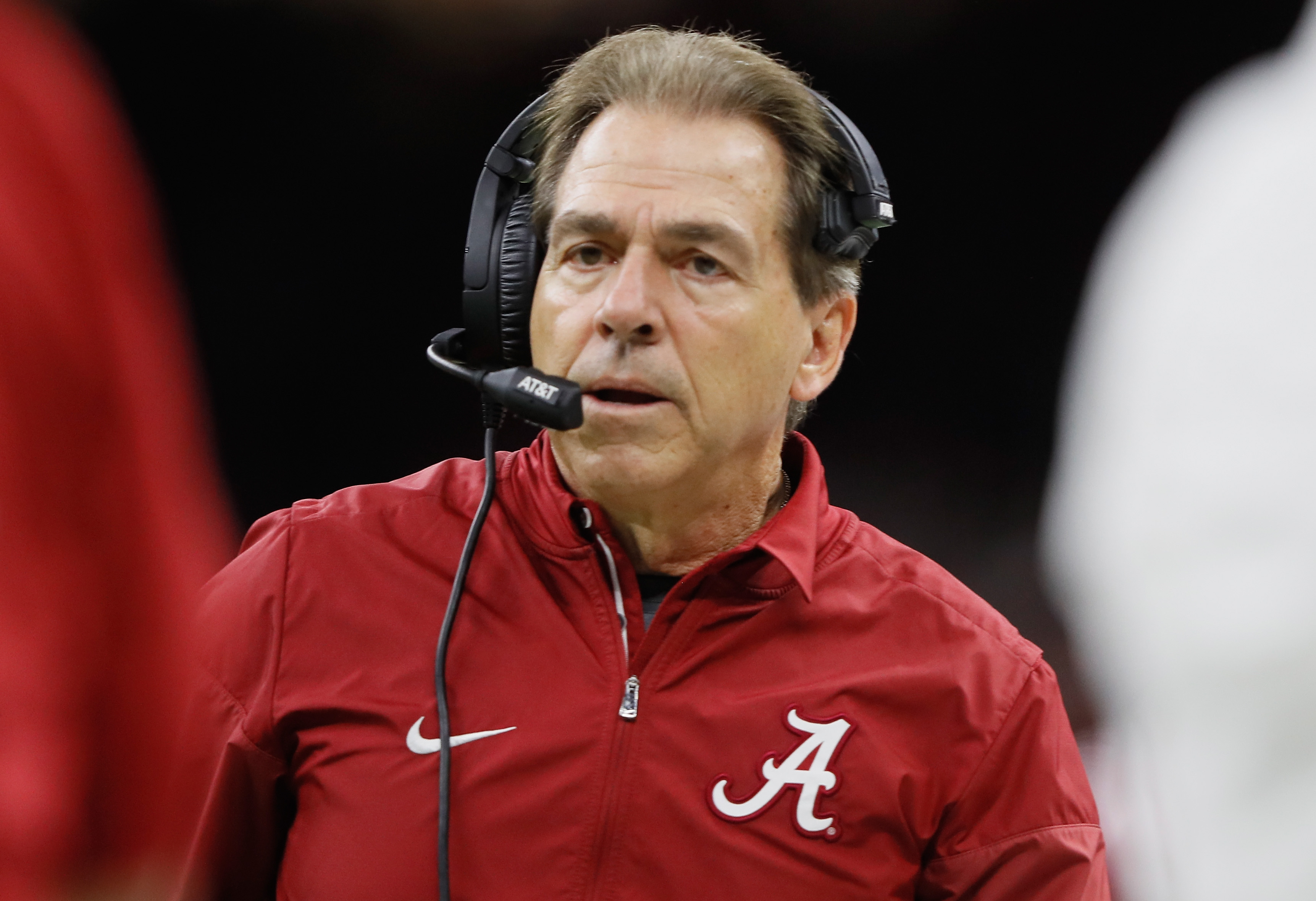 Nick Saban of the Alabama Crimson Tide reacts in the second half of the AllState Sugar Bowl against the Clemson Tigers at the Mercedes-Benz Superdome on January 1, 2018 in New Orleans, Louisiana.