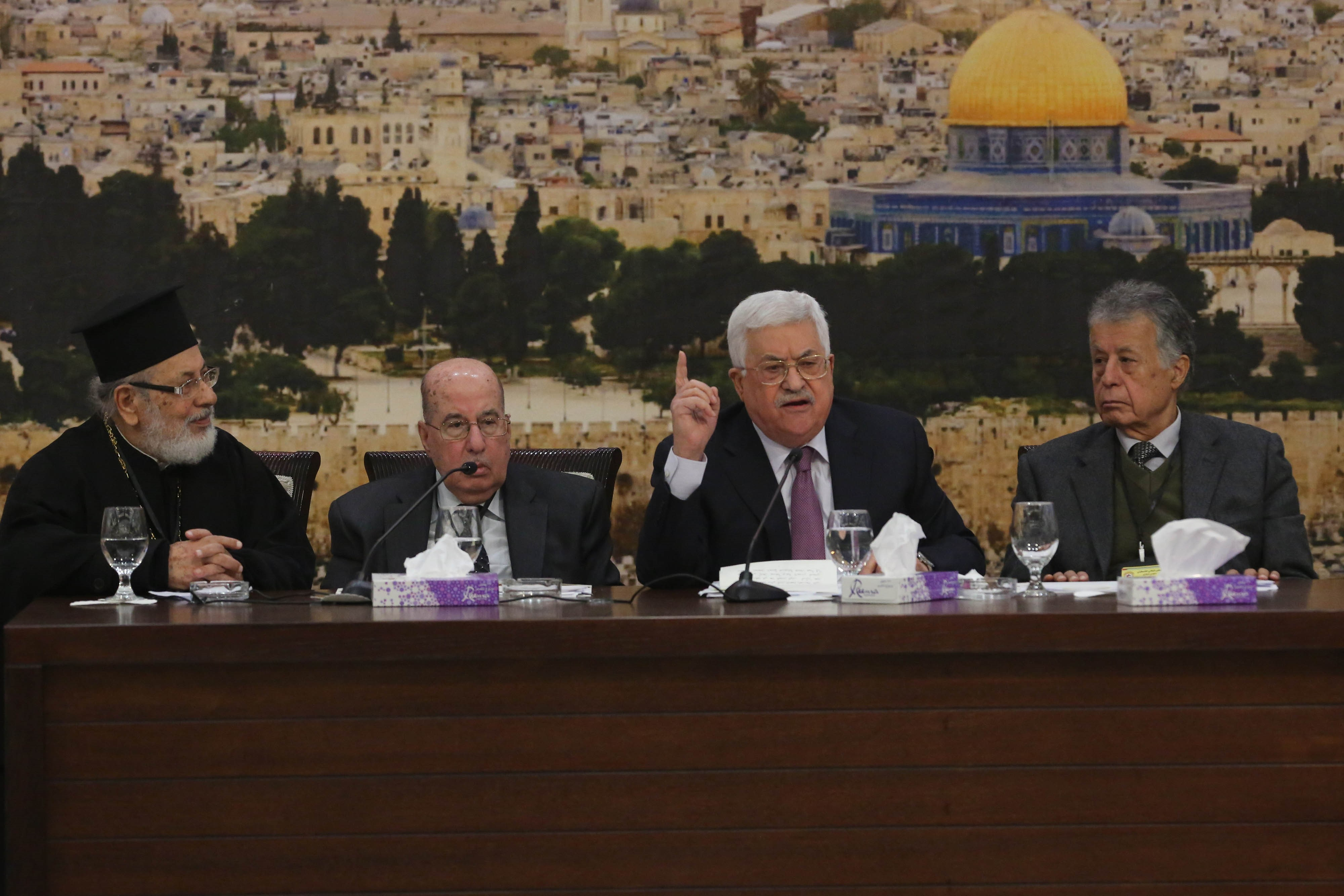 Palestinian President Mahmoud Abbas makes a speech at the 28th session of the Palestinian Central Council, in Ramallah, West Bank on Jan. 14, 2018.