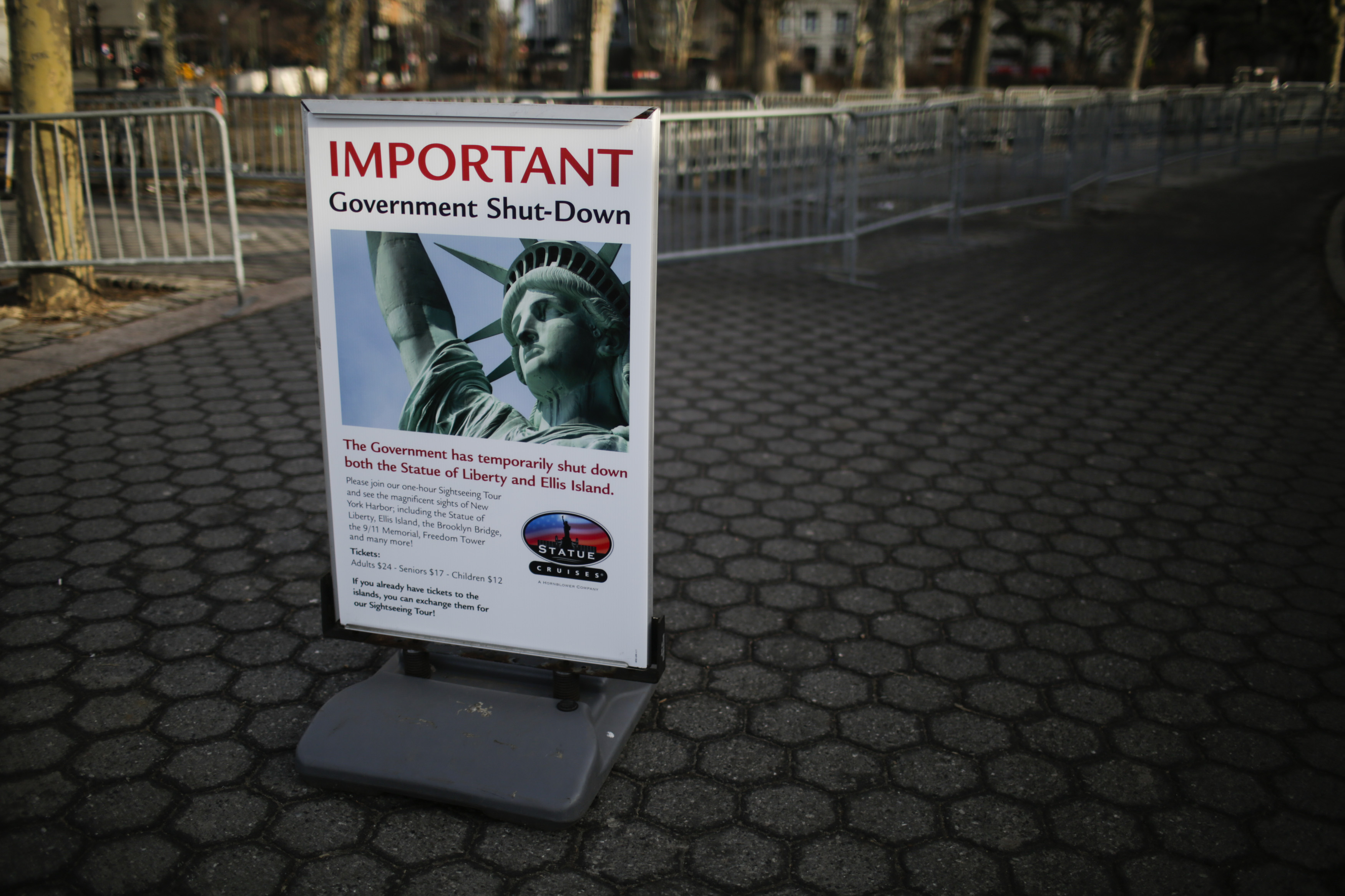 A Shutdown placard is seen at the entrance of the Liberty State ferry terminal in Battery Park on January 21, 2018 in New York City.
