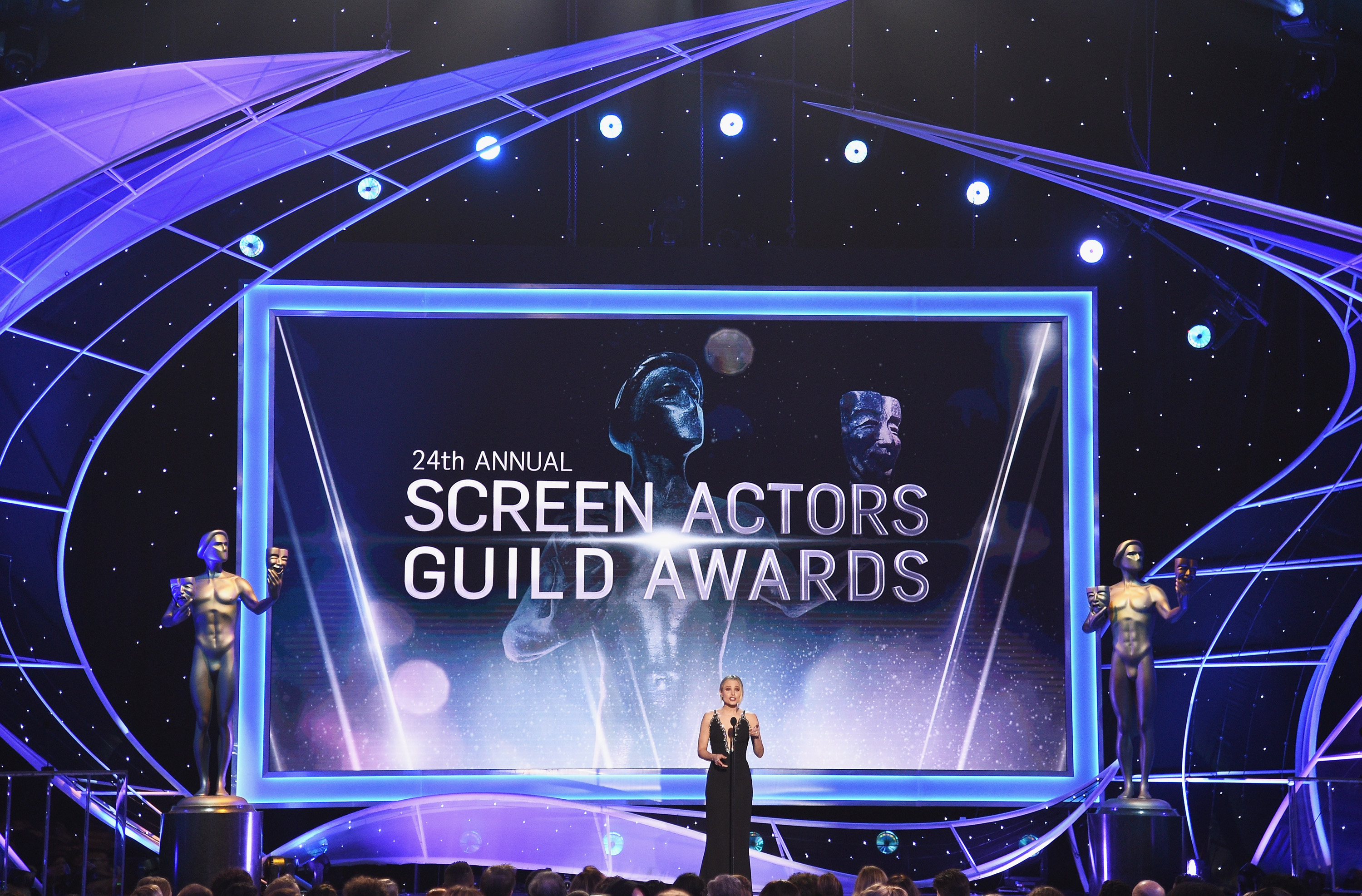 Host Kristen Bell speaks onstage during the 24th Annual Screen ActorsGuild Awards at The Shrine Auditorium on January 21, 2018 in Los Angeles, California.
