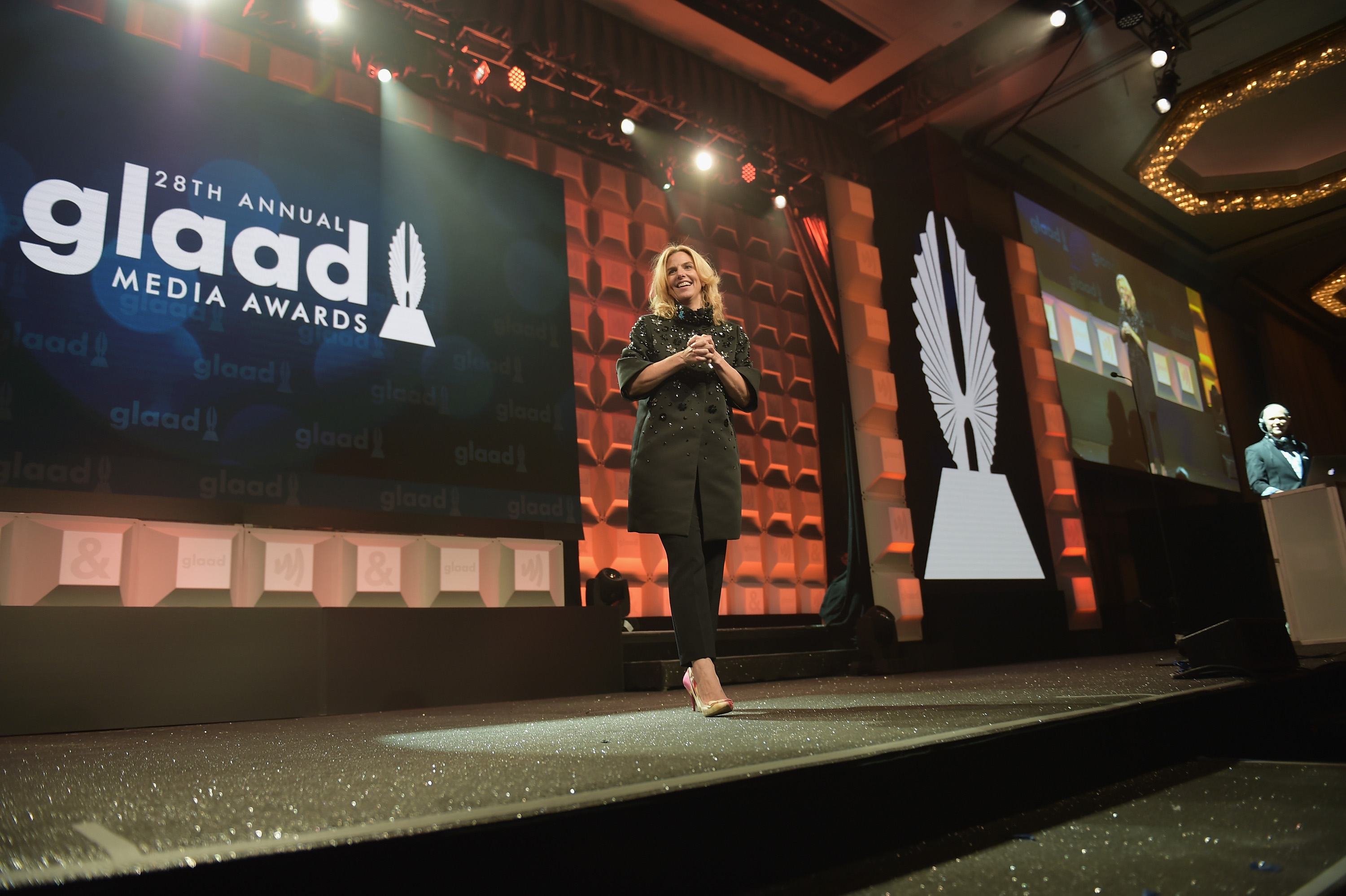 President and CEO of GLAAD Sarah Kate Ellis speaks on stage at the 28th Annual GLAAD Media Awards at The Hilton Midtown on May 6, 2017 in New York City.