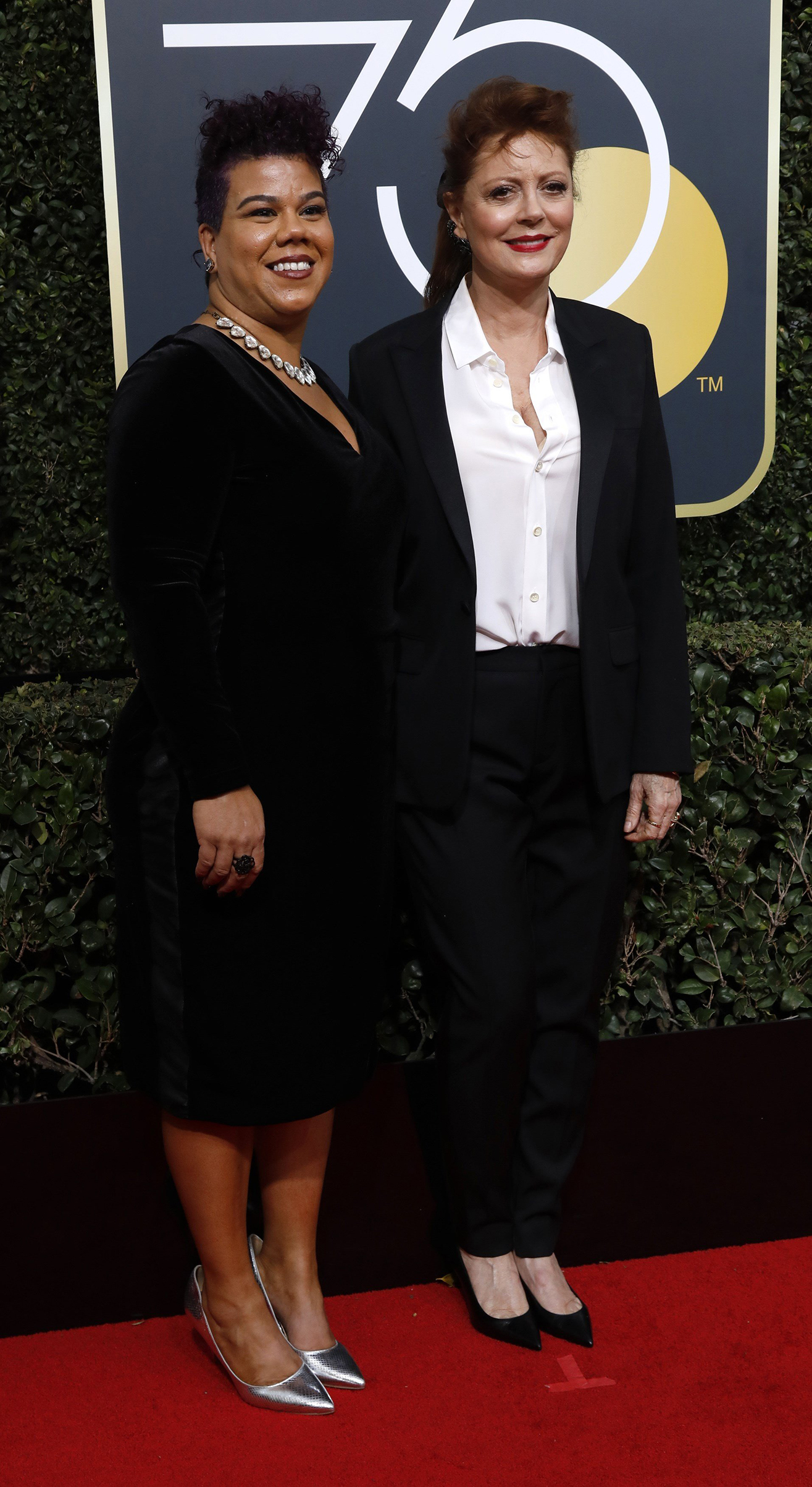 Activist Rosa Clemente and actress Susan Sarandon at the 75th annual Golden Globes, Beverly Hills, Calif, Jan. 7, 2018.
