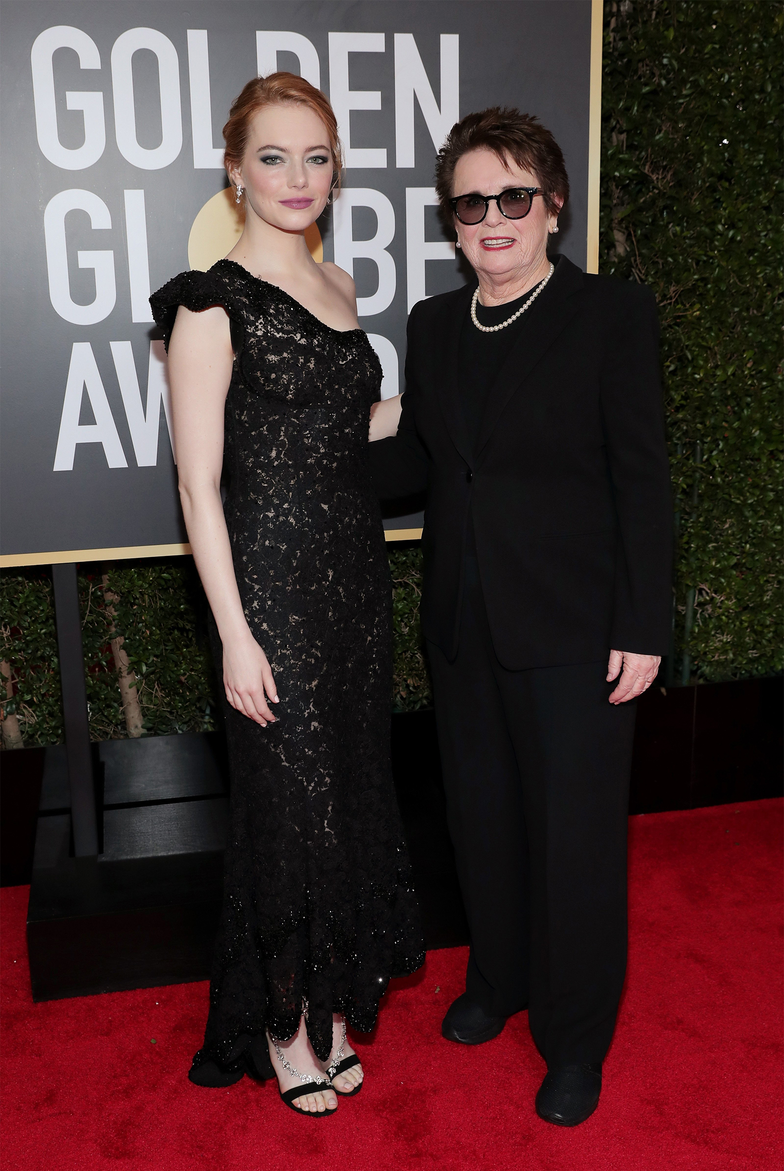Actor Emma Stone and tennis player Billie Jean King arrive to the 75th Annual Golden Globe Awards held at the Beverly Hilton Hotel on Jan. 7, 2018.