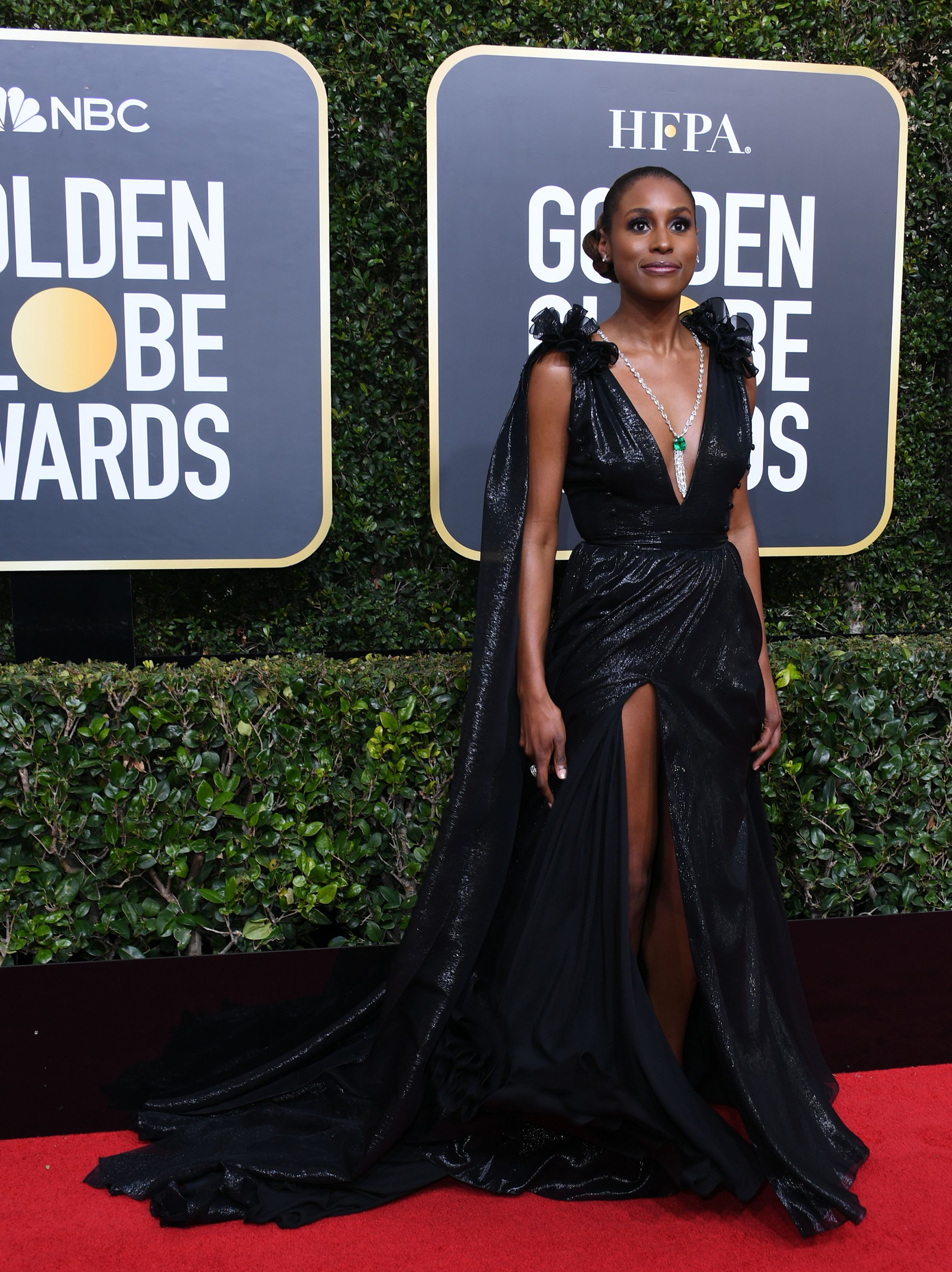 Issa Rae arrives for the 75th Golden Globe Awards on January 7, 2018, in Beverly Hills, California.