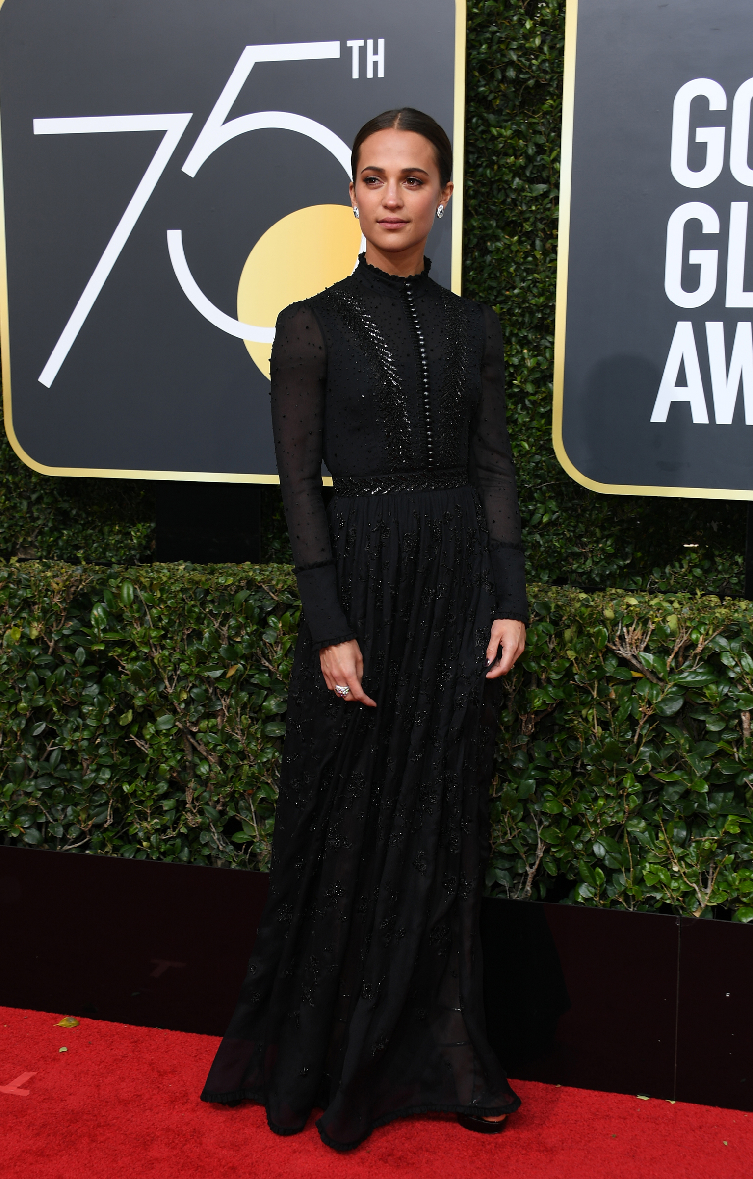 Swedish actress Alicia Vikander arrives for the 75th Golden Globe Awards on January 7, 2018, in Beverly Hills, California.