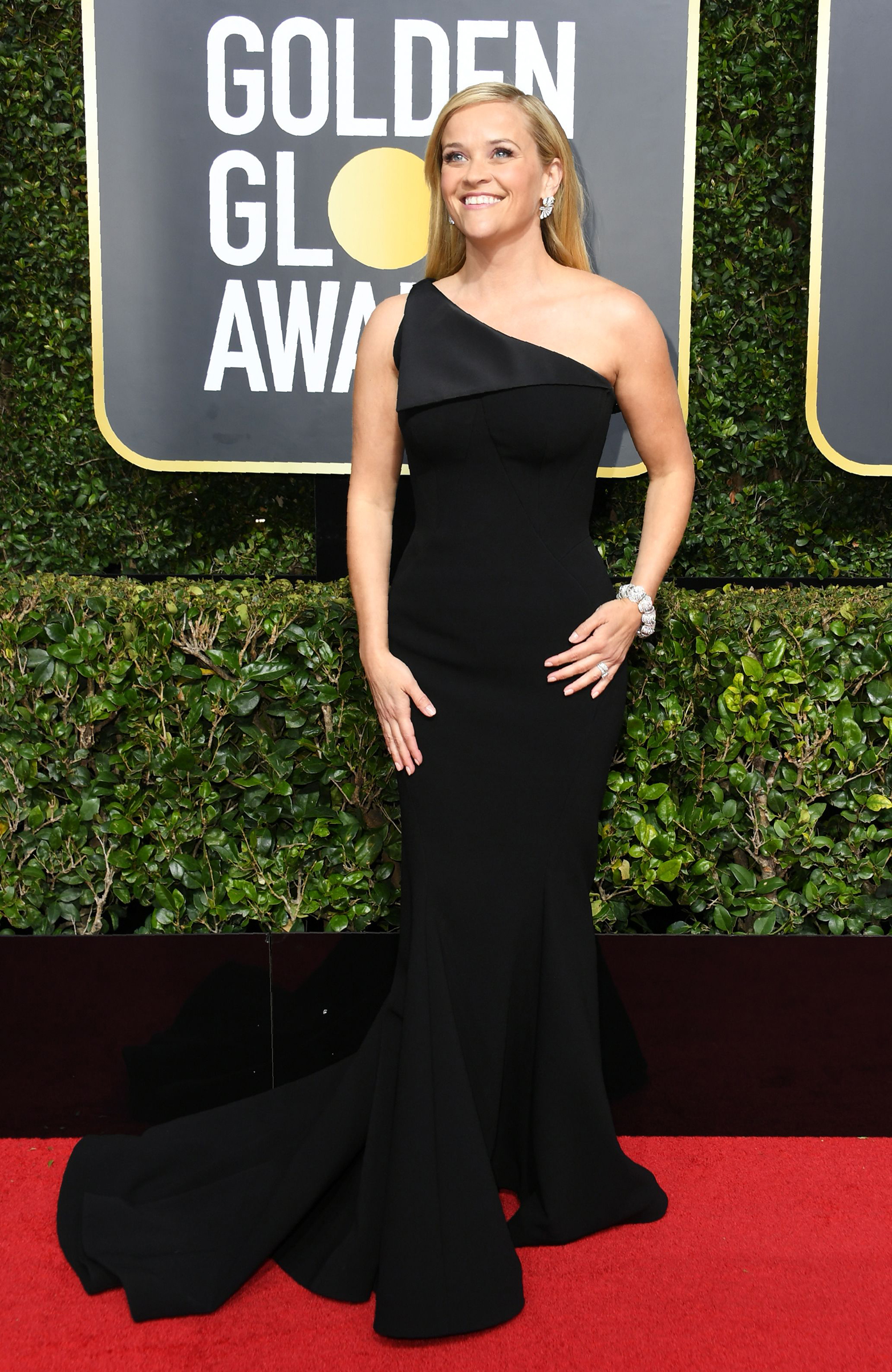 Reese Witherspoon arrives for the 75th Golden Globe Awards on January 7, 2018, in Beverly Hills, California.