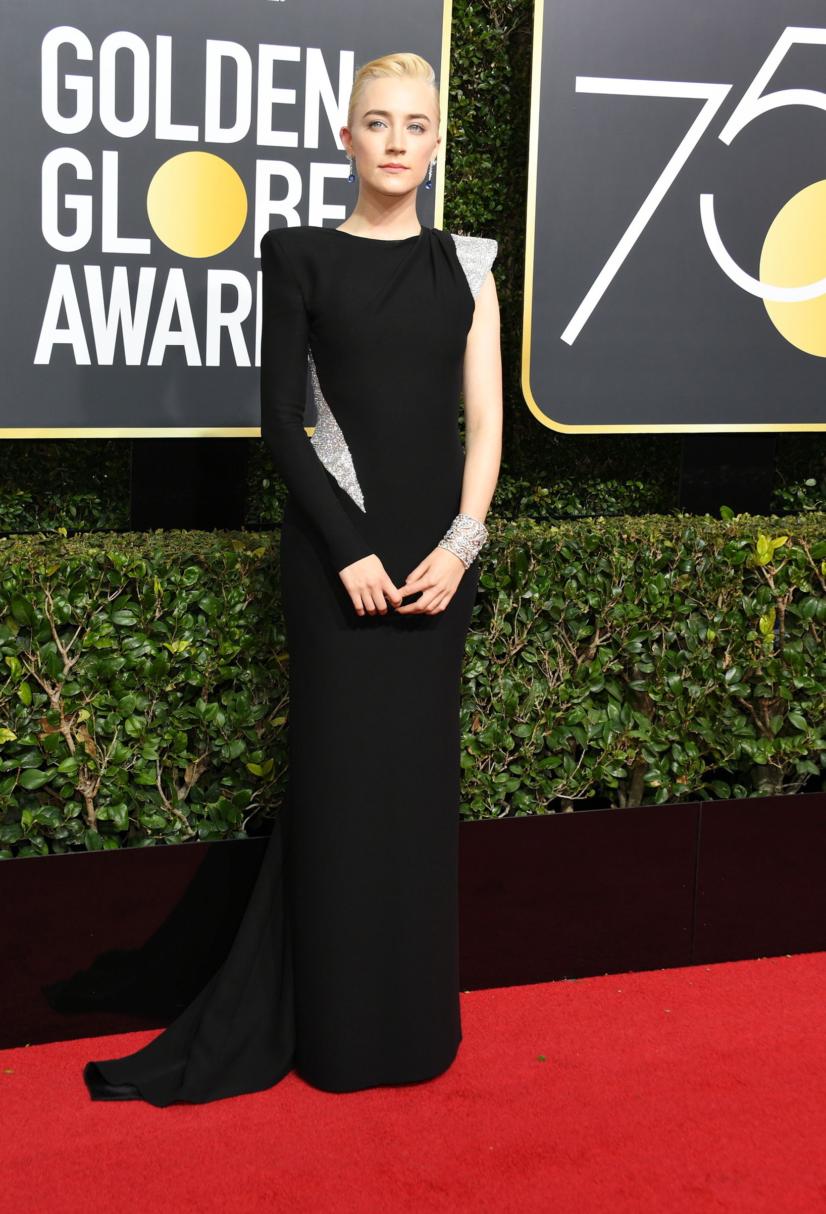 Saoirse Ronan arrives for the 75th Golden Globe Awards on January 7, 2018, in Beverly Hills, California.