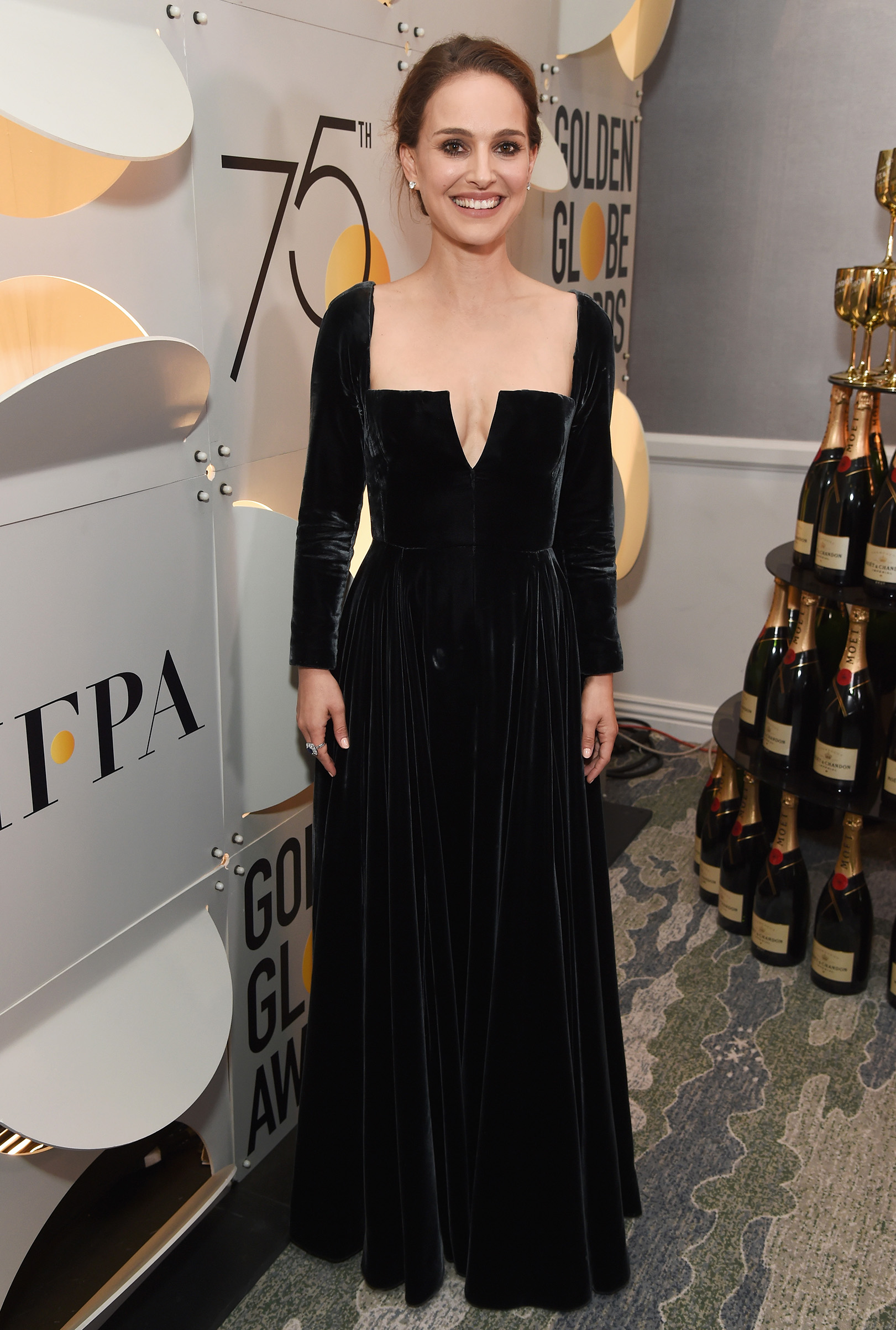 Actor Natalie Portman celebrates The 75th Annual Golden Globe Awards with Moet & Chandon at The Beverly Hilton Hotel on January 7, 2018 in Beverly Hills, California.