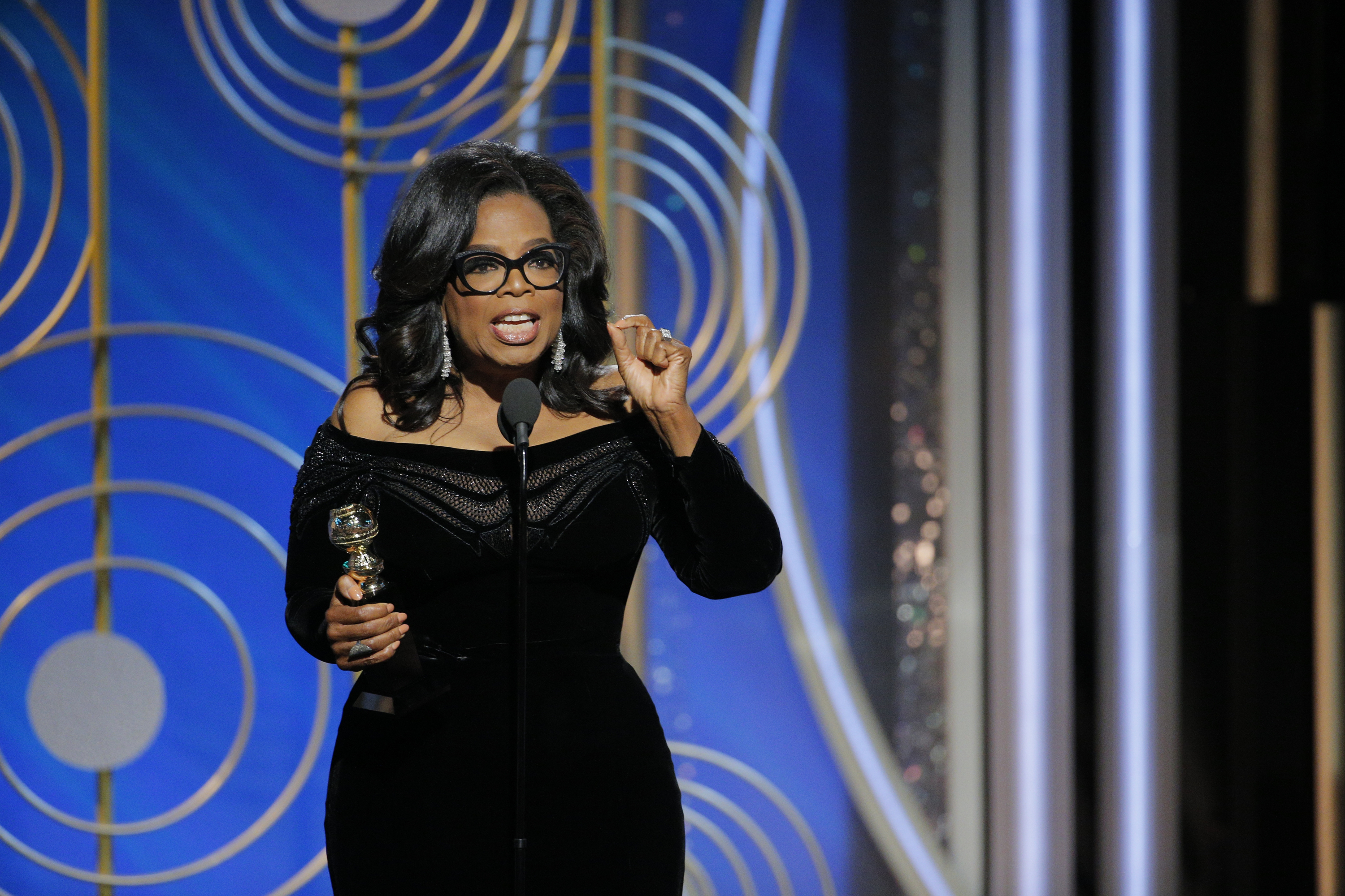 Oprah Winfrey accepts the 2018 Cecil B. DeMille Award speaks onstage during the 75th Annual Golden Globe Awards at The Beverly Hilton Hotel on Jan. 7, 2018 in Beverly Hills, California.