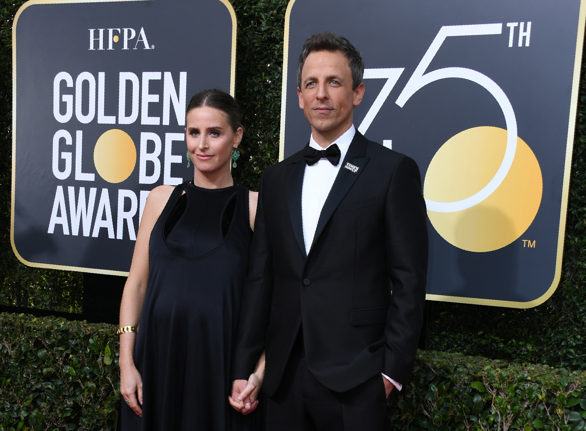 Seth Meyers and Alexi Ashe arrive for the 75th Golden Globe Awards on January 7, 2018, in Beverly Hills, California.