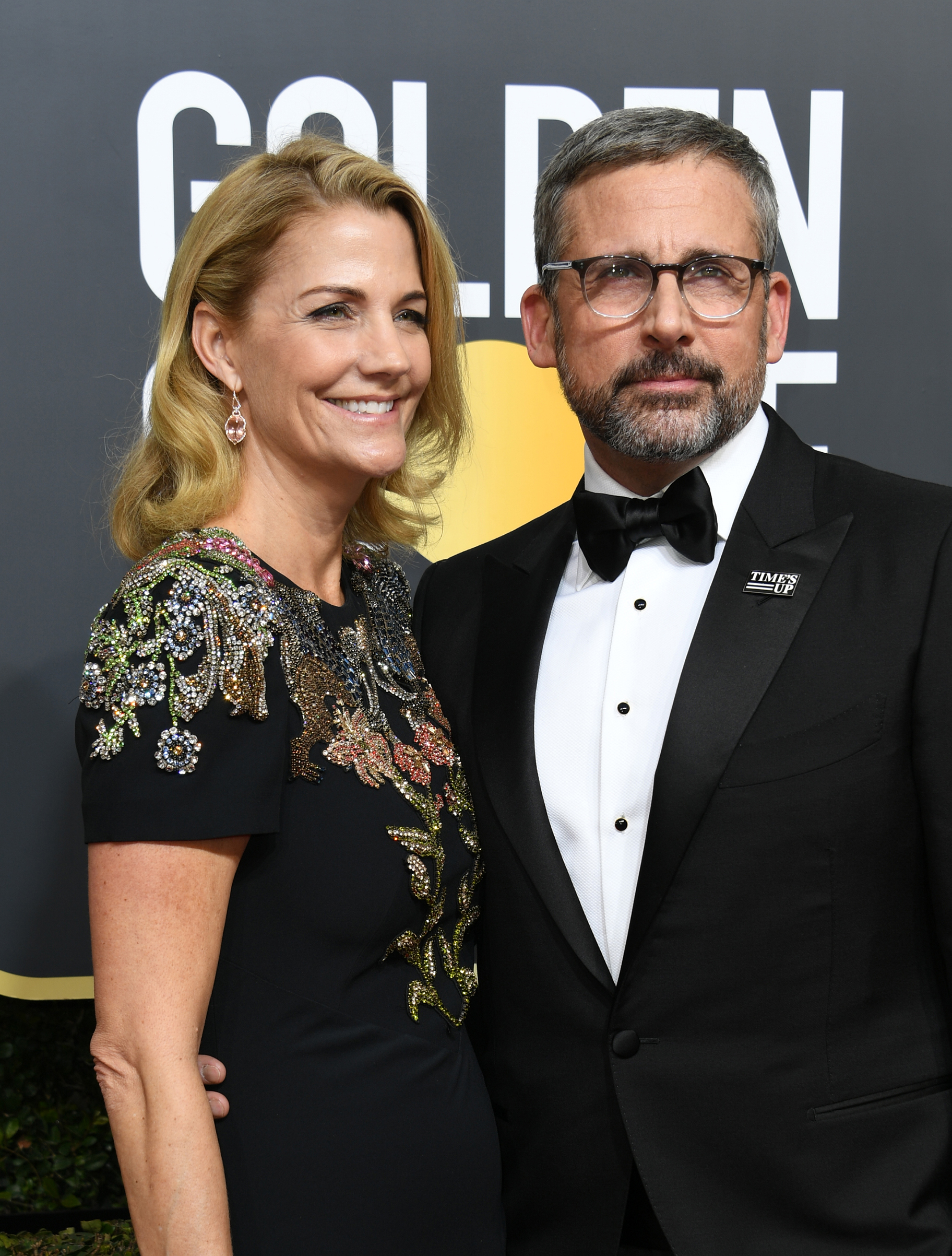 Nancy and Steve Carell arrive for the 75th Golden Globe Awards on January 7, 2018, in Beverly Hills, California.
