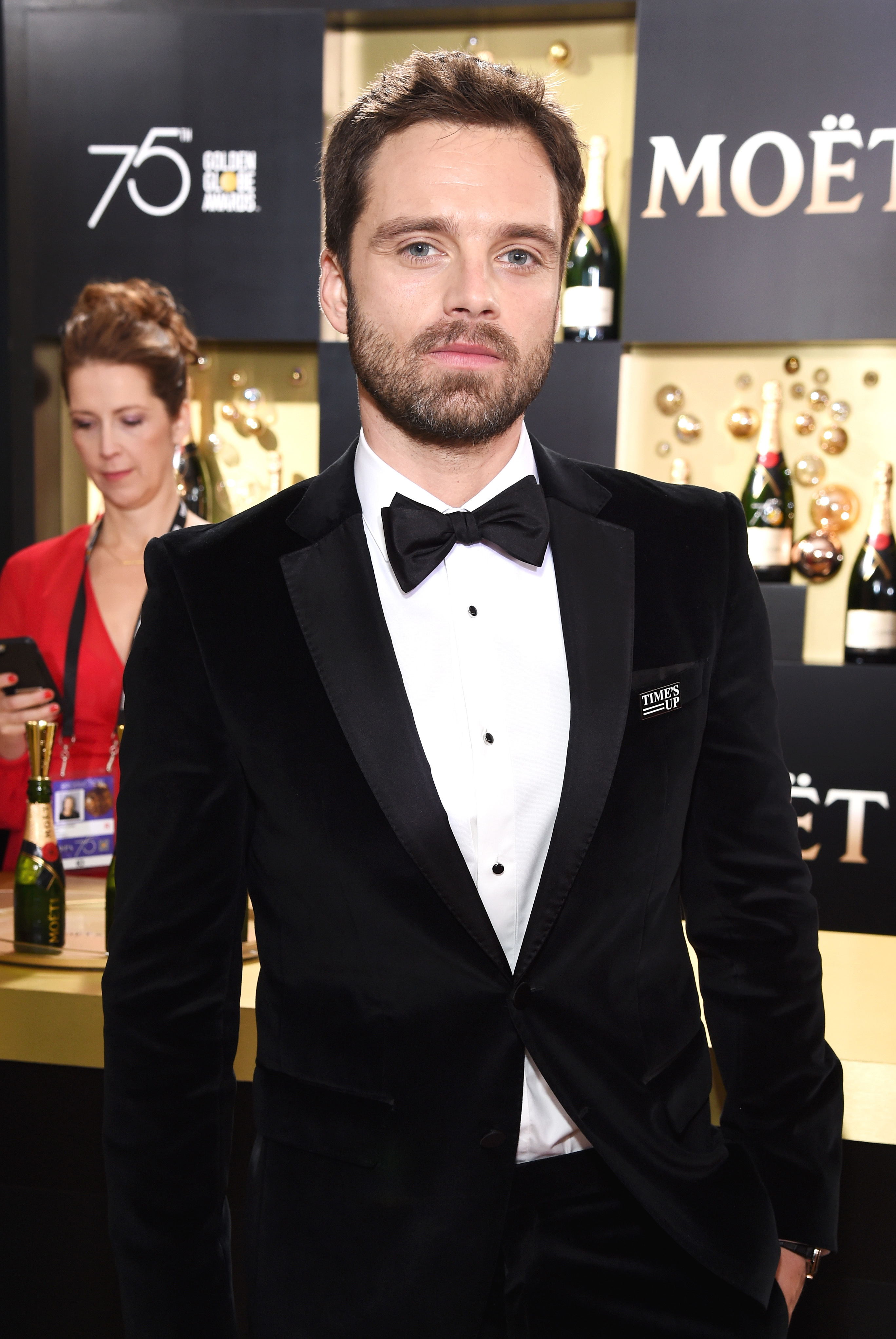 Actor Sebastian Stan celebrates The 75th Annual Golden Globe Awards with Moet & Chandon at The Beverly Hilton Hotel on January 7, 2018 in Beverly Hills, California.