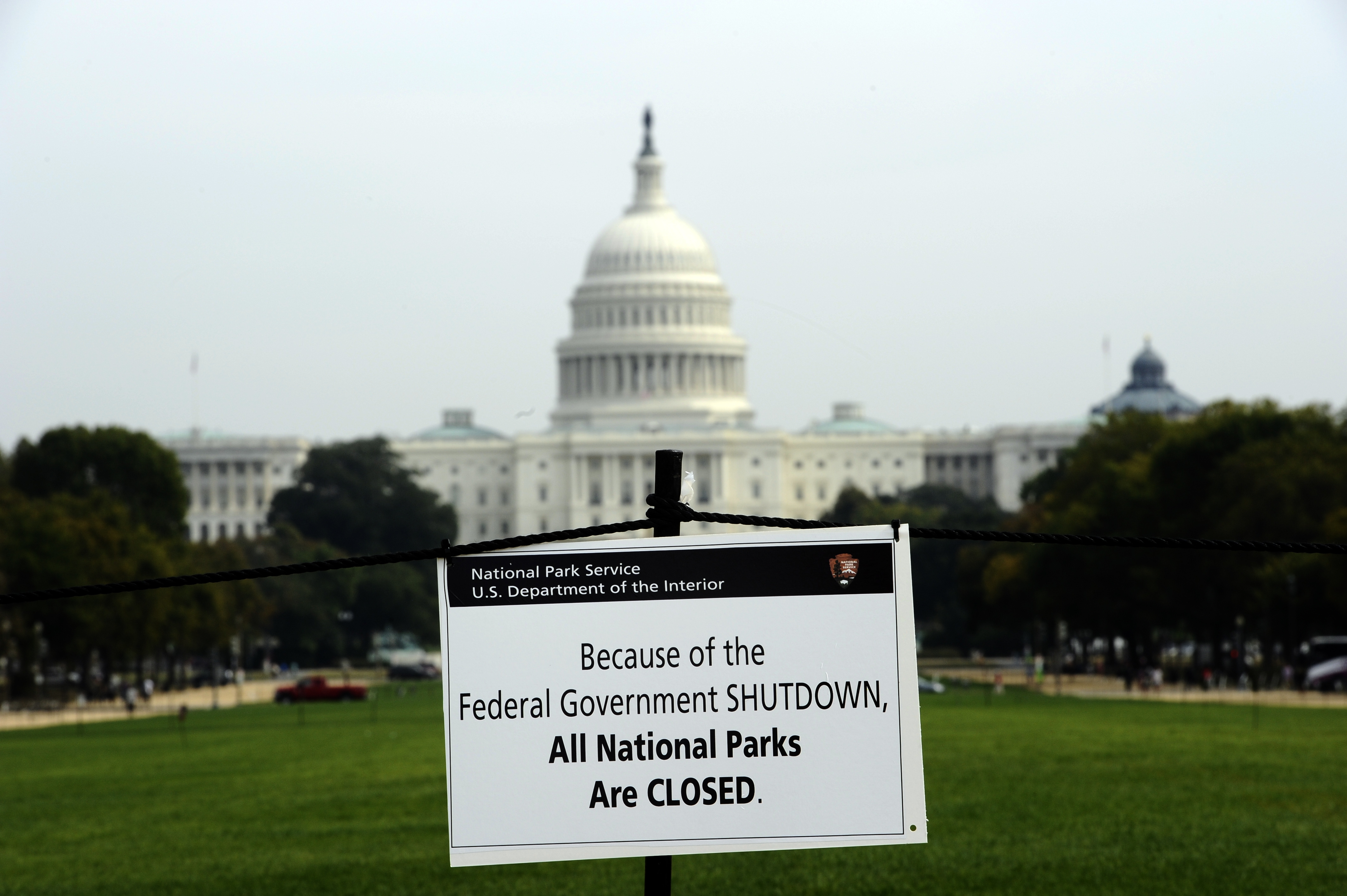 A closure sign is posted on the national mall near the US Capitol in Washington, D.C.