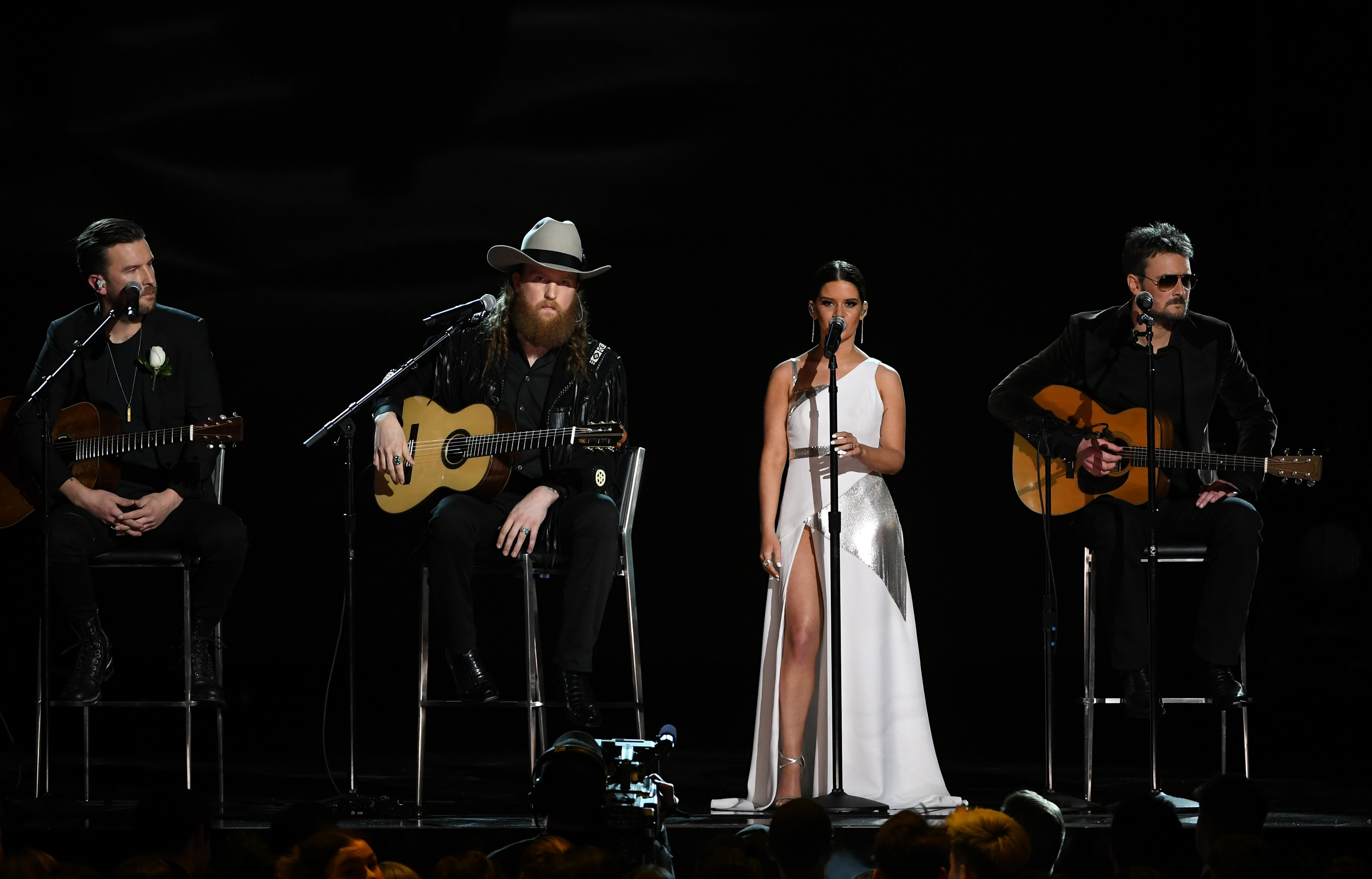 NEW YORK, NY - JANUARY 28:  (L-R) Recording artists T.J. Osborne, John Osborne, Maren Morris, and Eric Church perform onstage during the 60th Annual GRAMMY Awards at Madison Square Garden on January 28, 2018 in New York City.