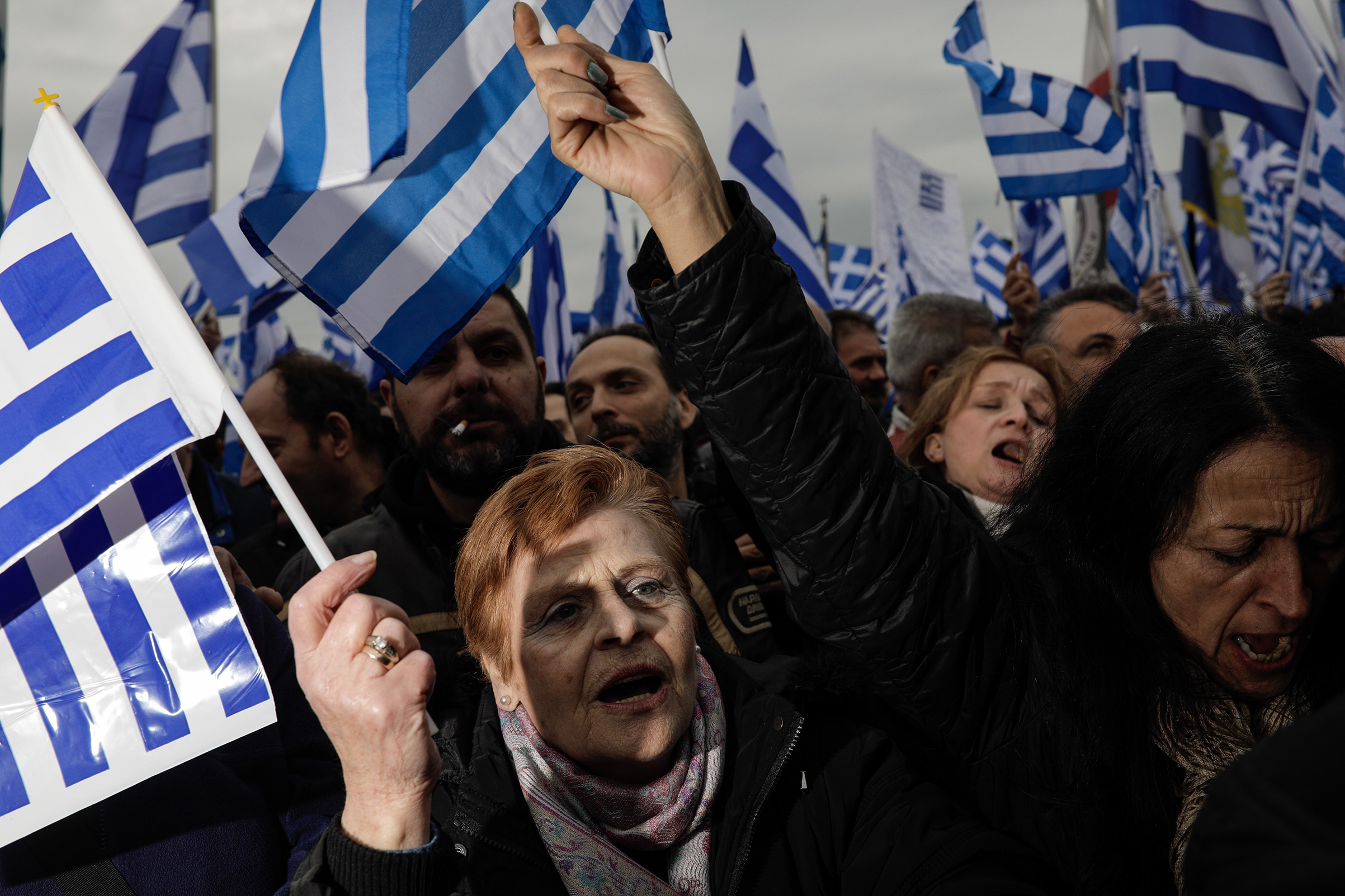 Protesters take to the streets                      in Thessaloniki, Greece, on Jan. 21