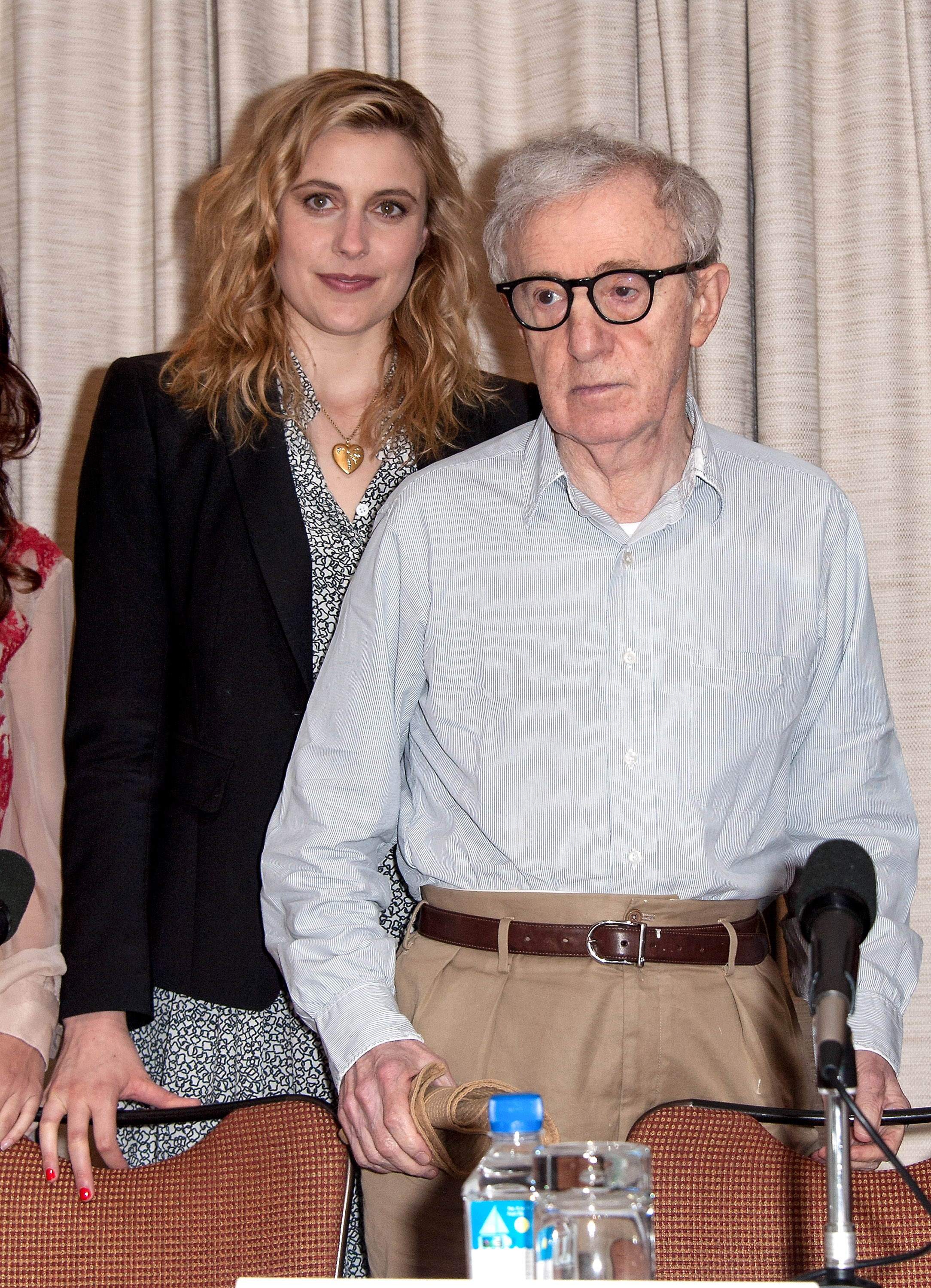Greta Gerwig (L) and Woody Allen attend the  To Rome With Love  press conference at the Loews Regency Hotel Ballroom on June 19, 2012 in New York City.  (Photo by D Dipasupil/FilmMagic)