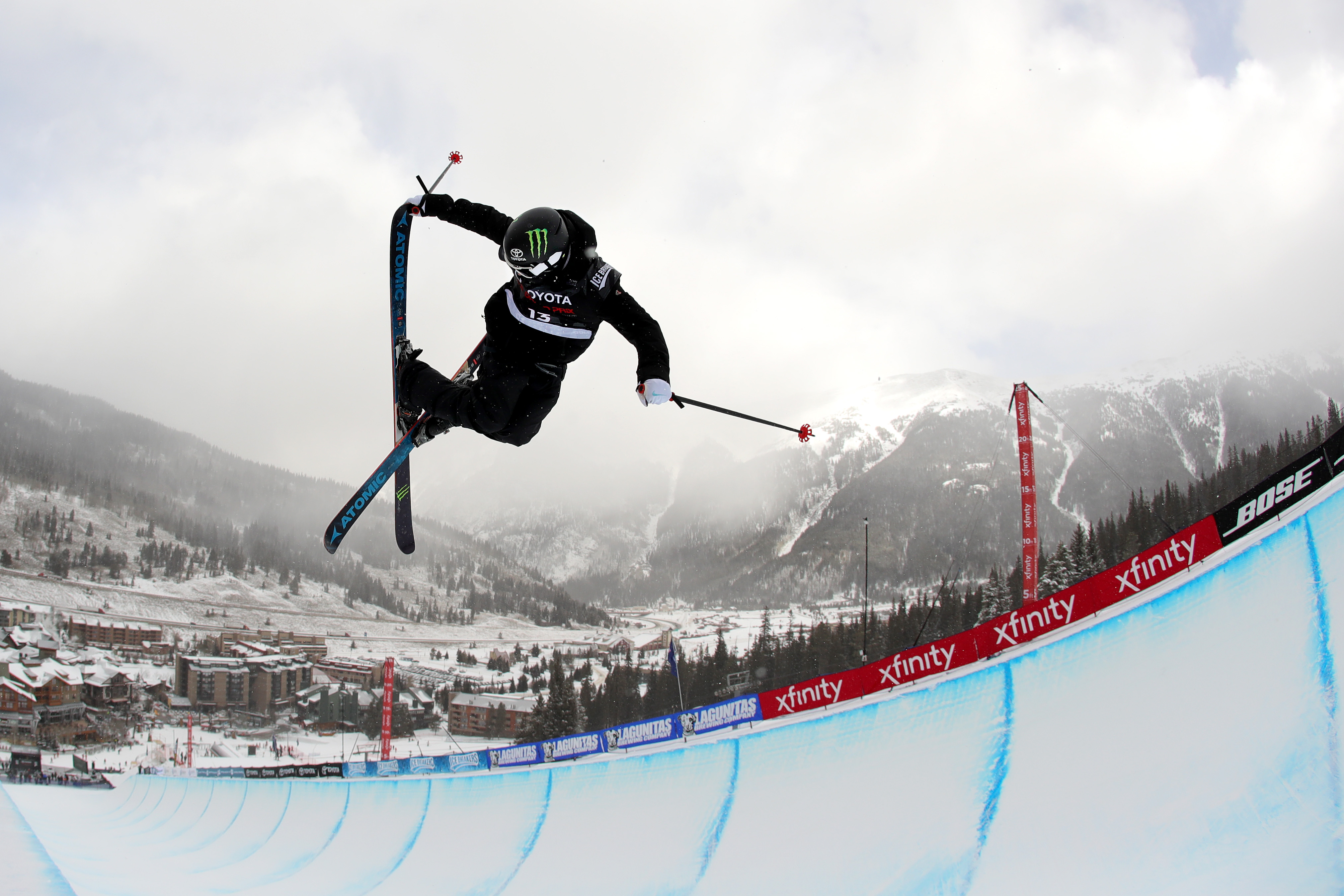 Gus Kenworthy of the United States competes in a qualifying round of the FIS Freeski World Cup 2018 Men's Ski Halfpipe during the Toyota U.S. Grand Prix on December 6, 2017 in Copper Mountain, Colorado.
