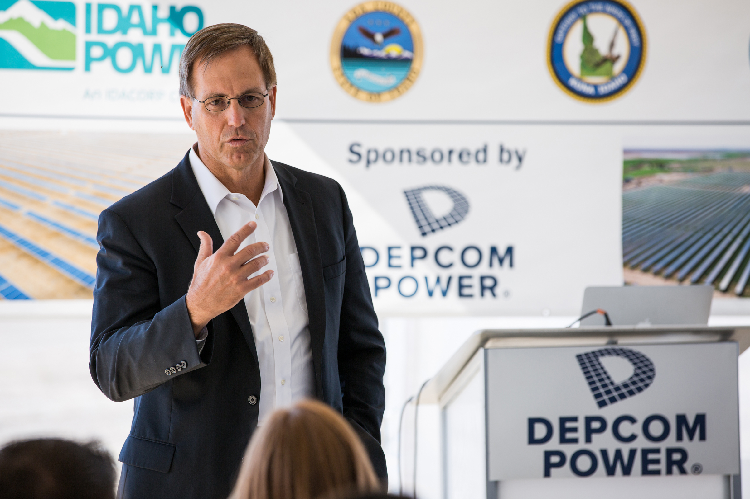 Jim Lamon, CEO- DEPCOM Power, addresses utility customers, local officials and community members at the dedication of the 55 MW Idaho Solar plant.