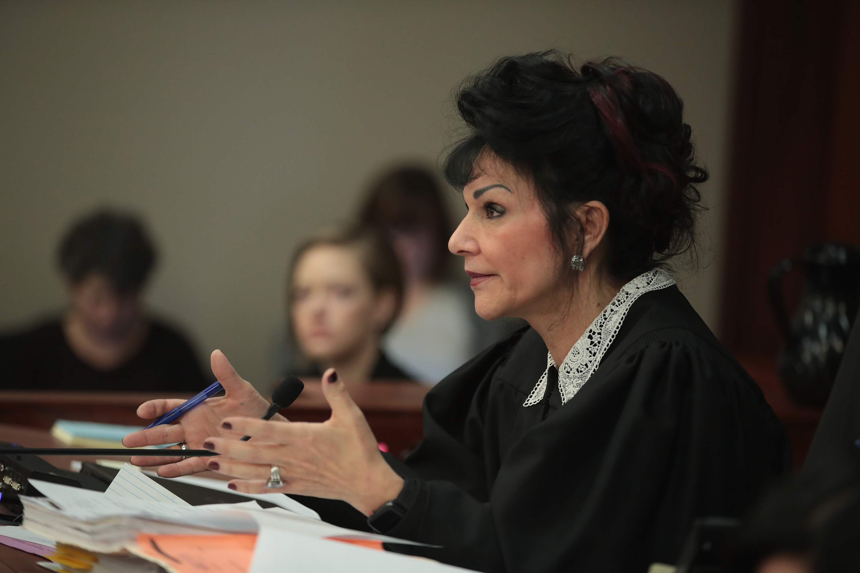 LANSING, MI - JANUARY 16: Judge Rosemarie Aquilina speaks at a sentencing hearing for Larry Nassar for molesting about 100 girls while he was a physician for USA Gymnastics and Michigan State University, where he had his sports-medicine practice on January 16, 2018 in Lansing, Michigan. (Photo by Scott Olson/Getty Images)