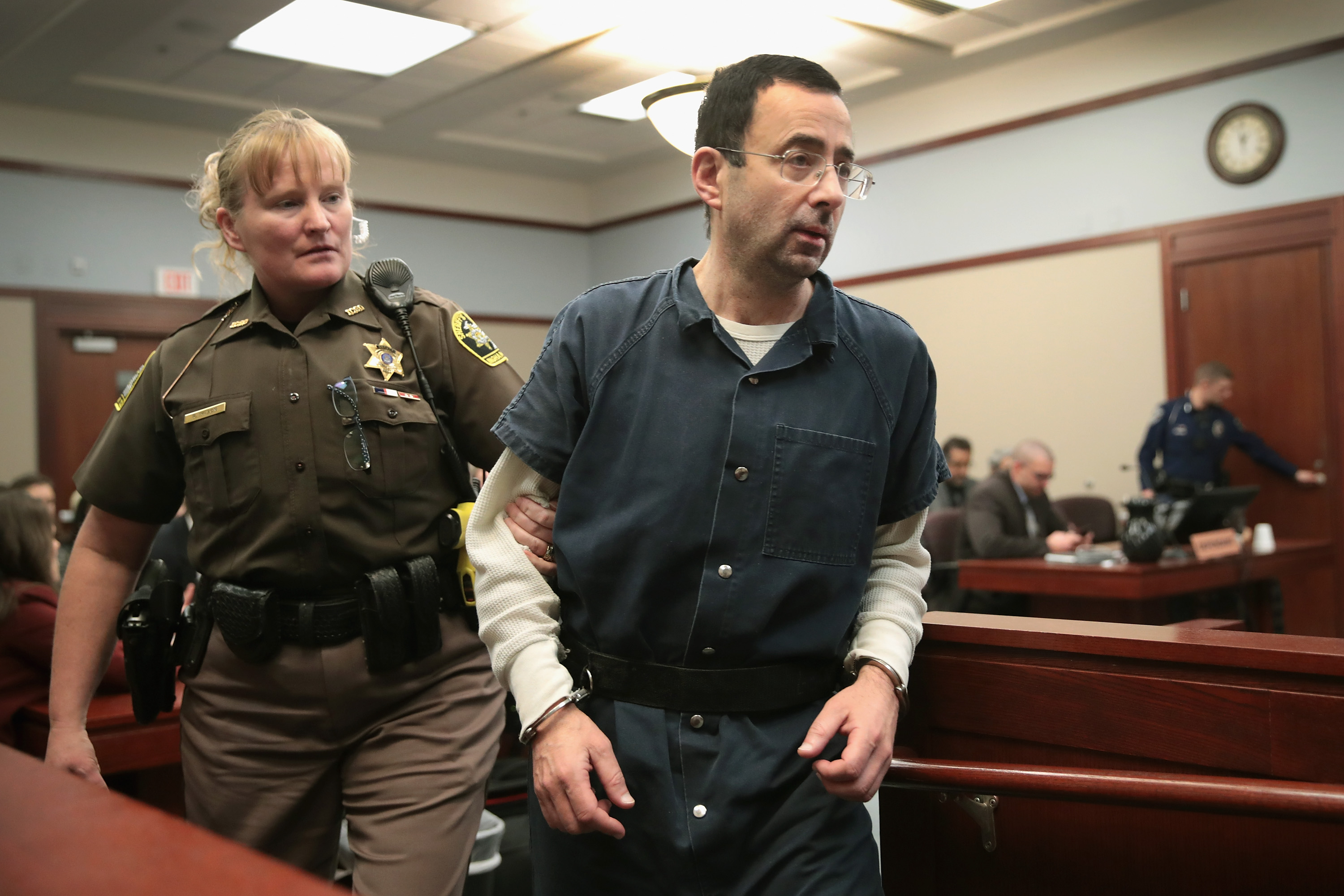 Larry Nassar appears in court to listen to victim impact statements during his sentencing hearing after being accused of molesting more than 100 girls while he was a physician for USA Gymnastics and Michigan State University where he had his sports-medicine practice on January 17, 2018 in Lansing, Michigan.