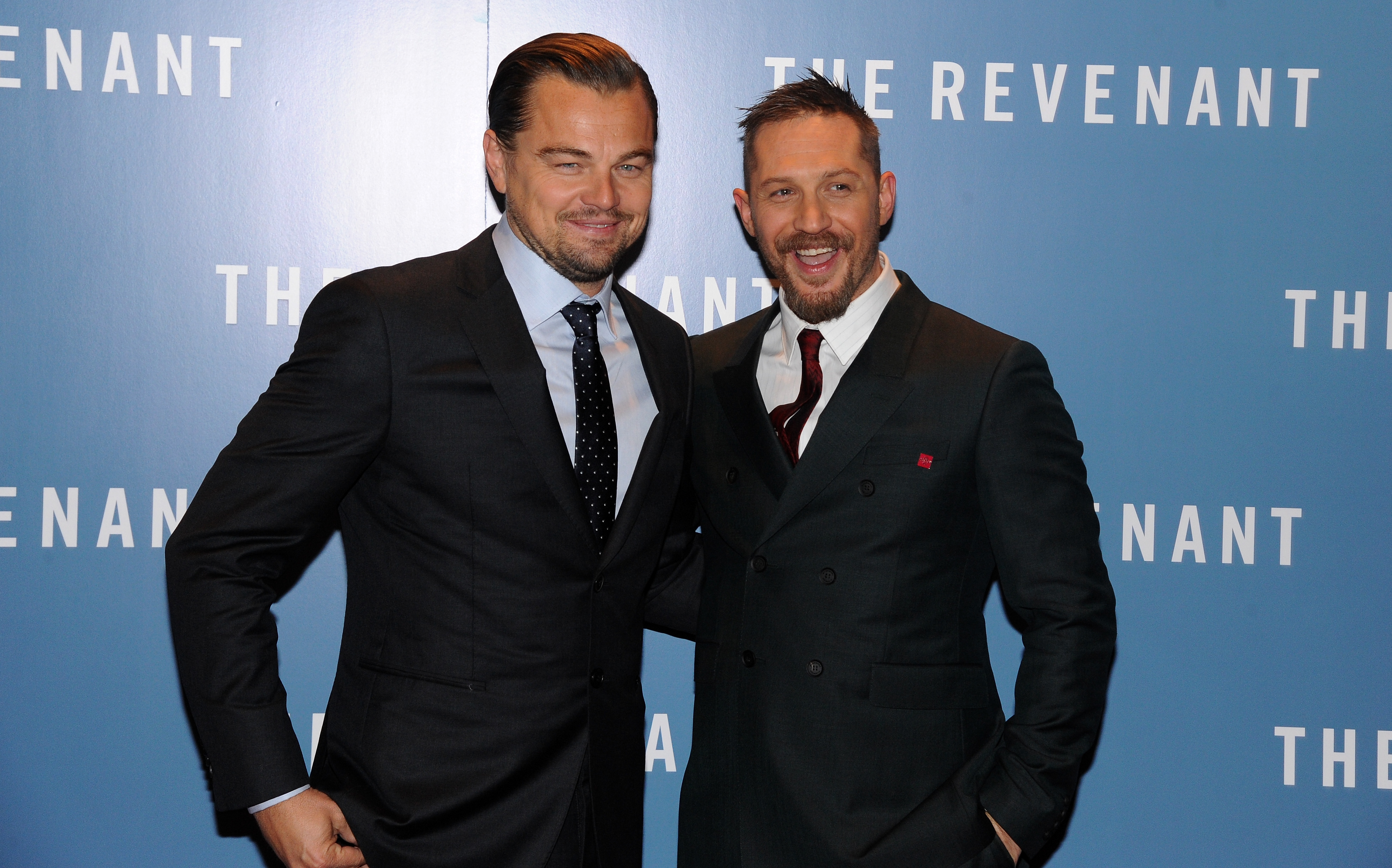 Leonardo DiCaprio (L) and Tom Hardy attend UK Premiere of  The Revenant  at Empire Leicester Square on January 14, 2016 in London, England.