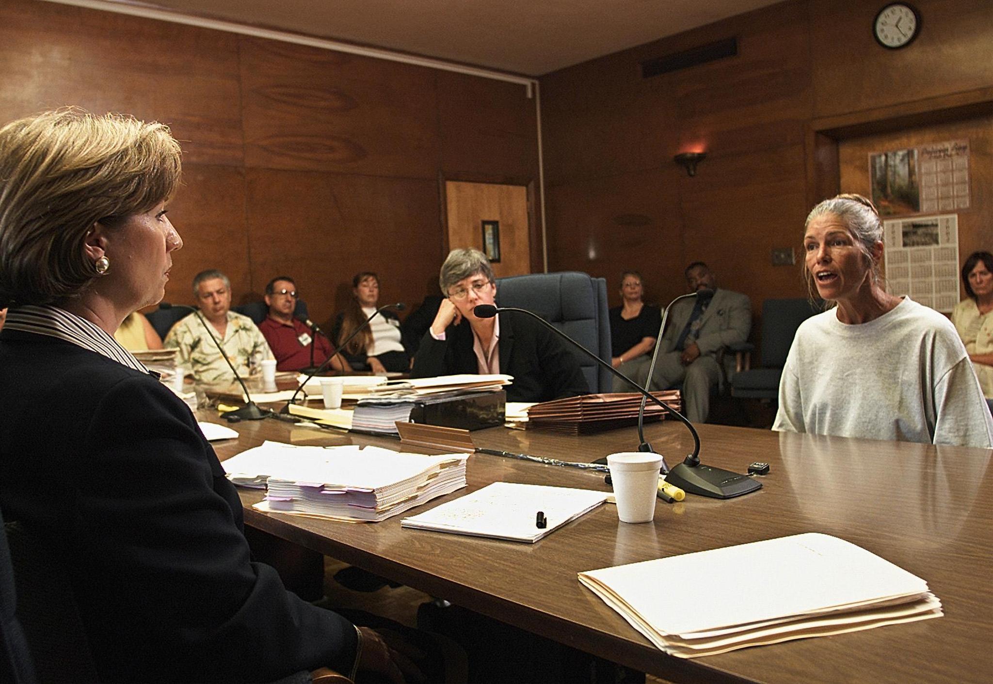 Leslie Van Houten, after her parole was denied in 2002.