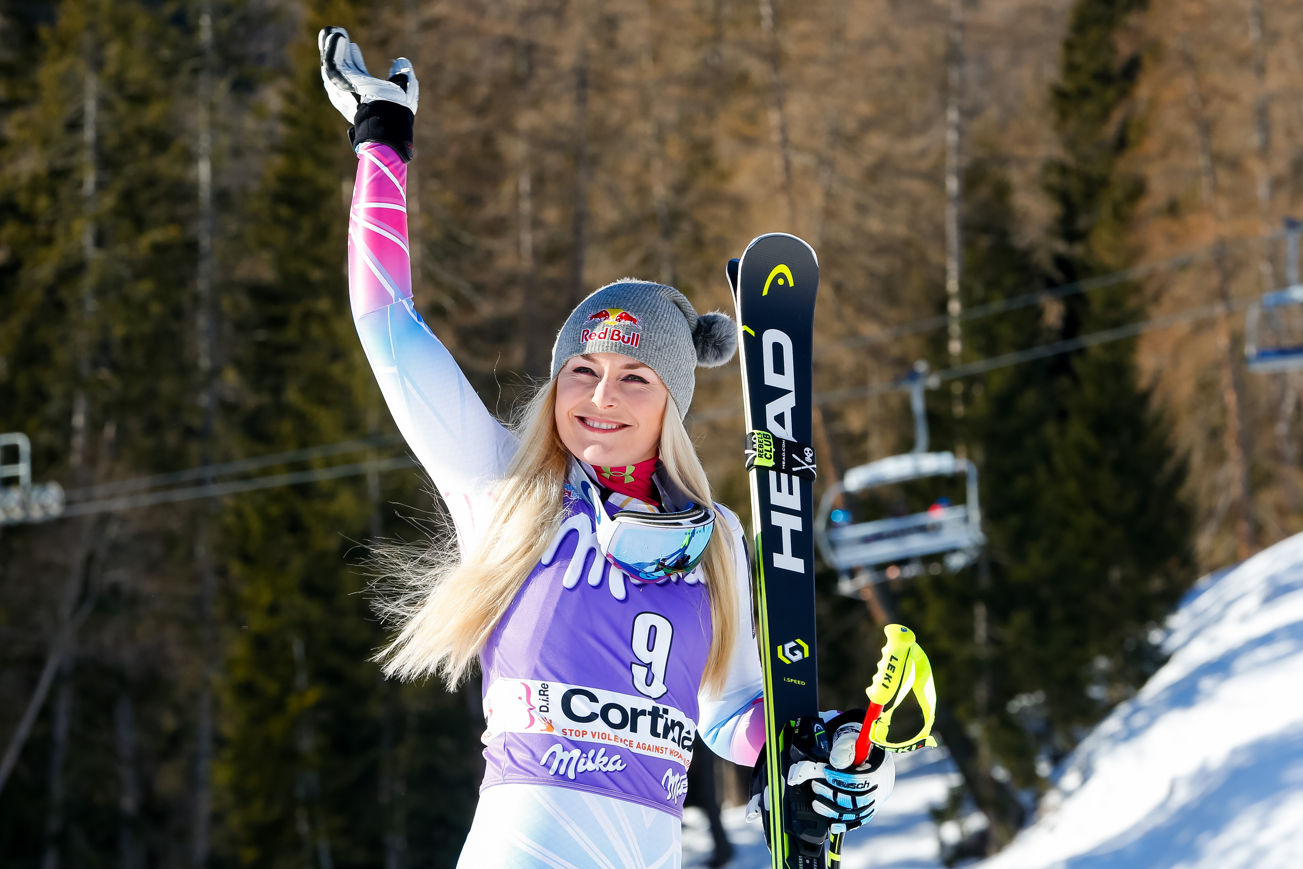Lindsey Vonn takes 1st place during the 2018 Alpine Ski World Cup.