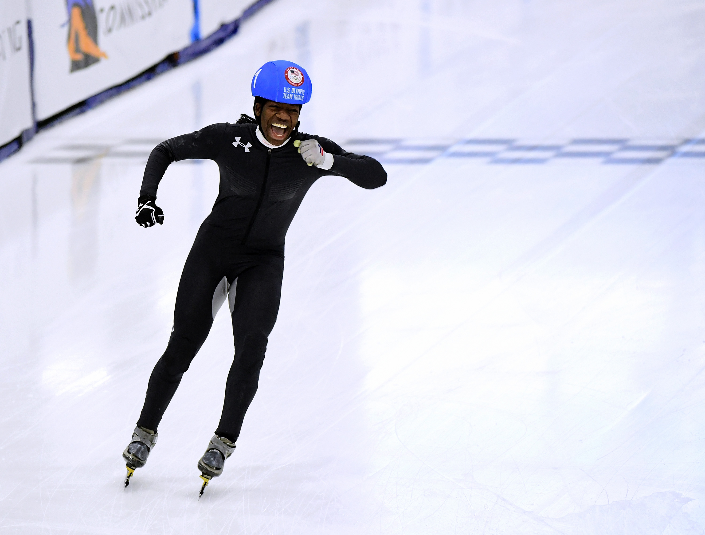Maame Biney #1 celebrates victory in the Women's 500 Meter A Final for a spot on the Olympic team during the 2018 U.S. Speedskating Short Track Olympic Team Trials at the Utah Olympic Oval on December 16, 2017 in Salt Lake City, Utah.