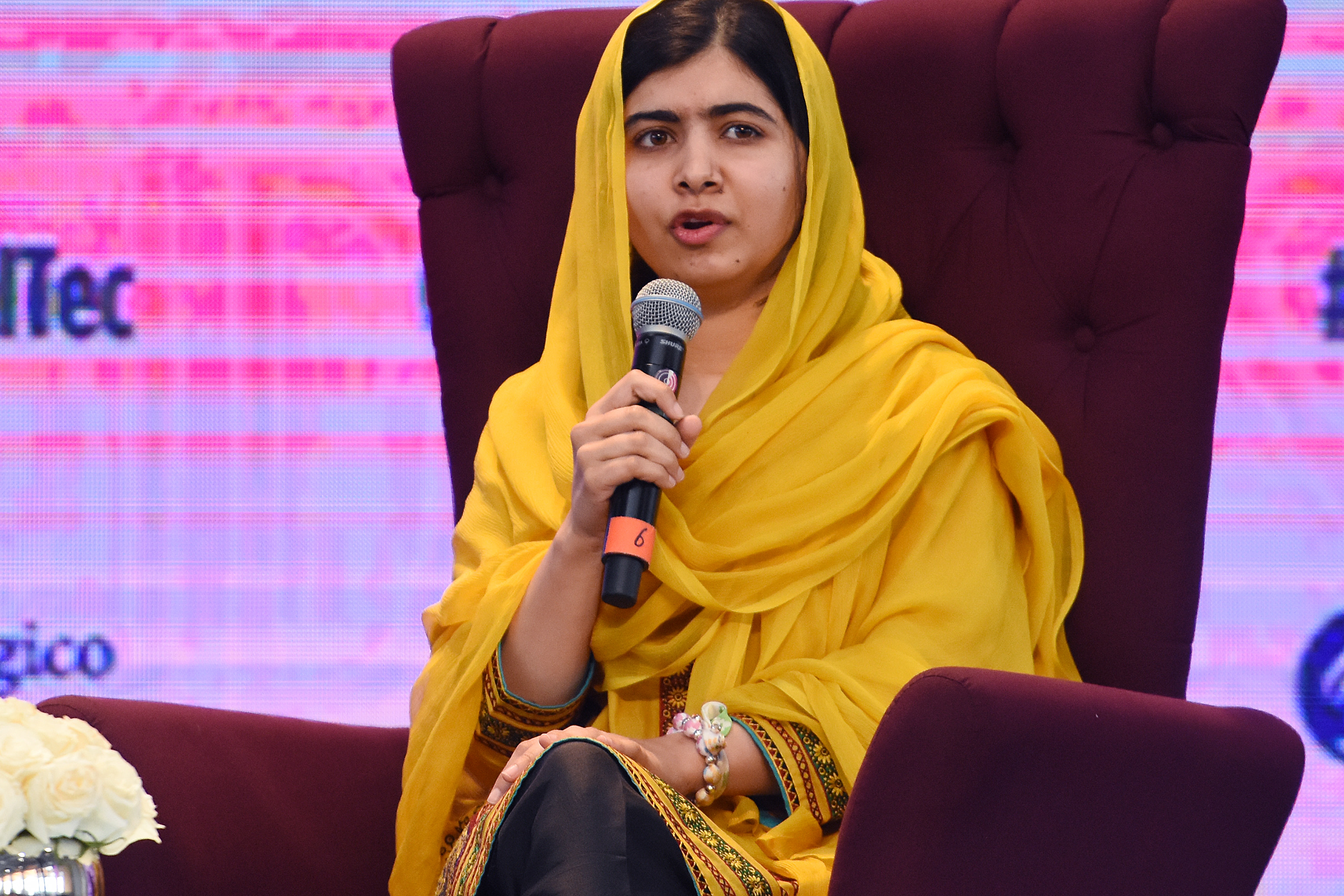 Education activist Malala Yousafzai speaks during a press conference at the Tecnologico de Monterrey University on Aug. 31, 2017 in Mexico City, Mexico.