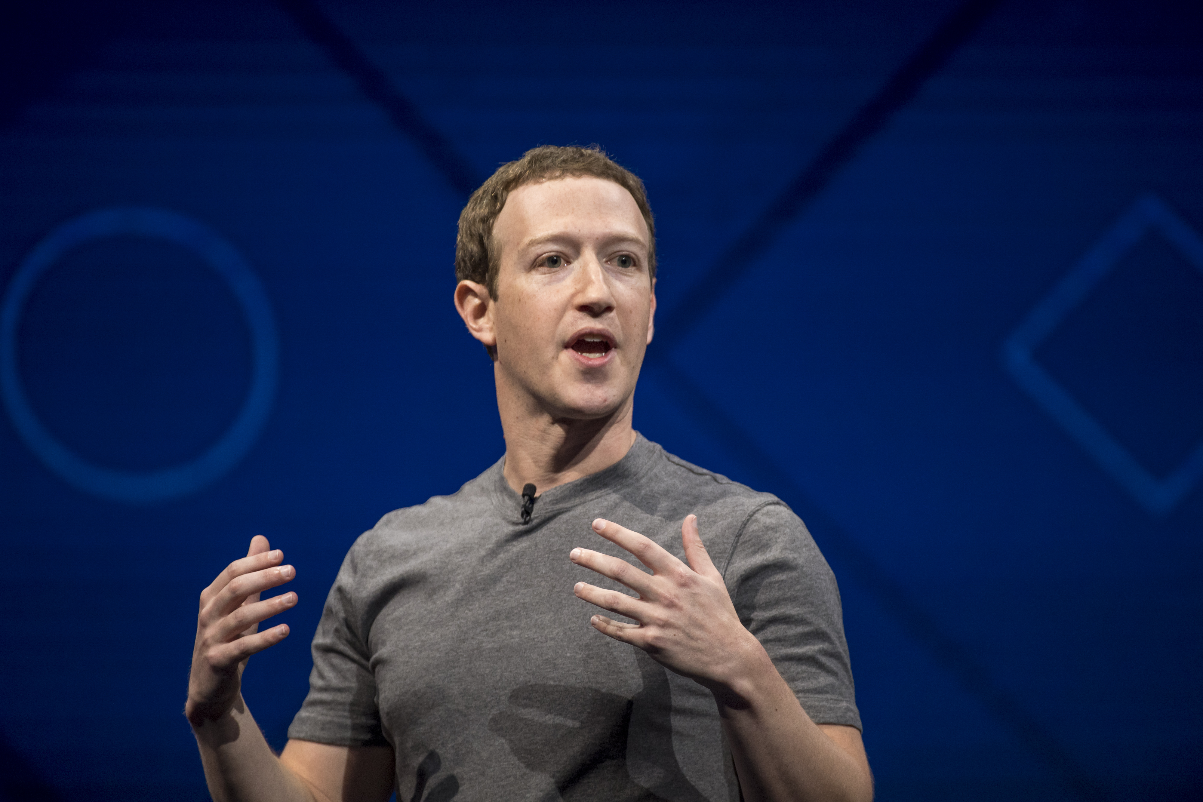 Mark Zuckerberg, chief executive officer and founder of Facebook Inc., speaks during the F8 Developers Conference in San Jose, California, U.S., on Tuesday, April 18, 2017.