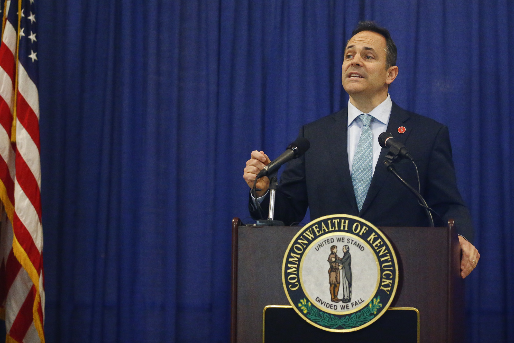 Kentucky Gov. Matt Bevin announces federal approval of Kentucky's Medicaid waiver in Frankfort, Ky on Jan. 12, 2018