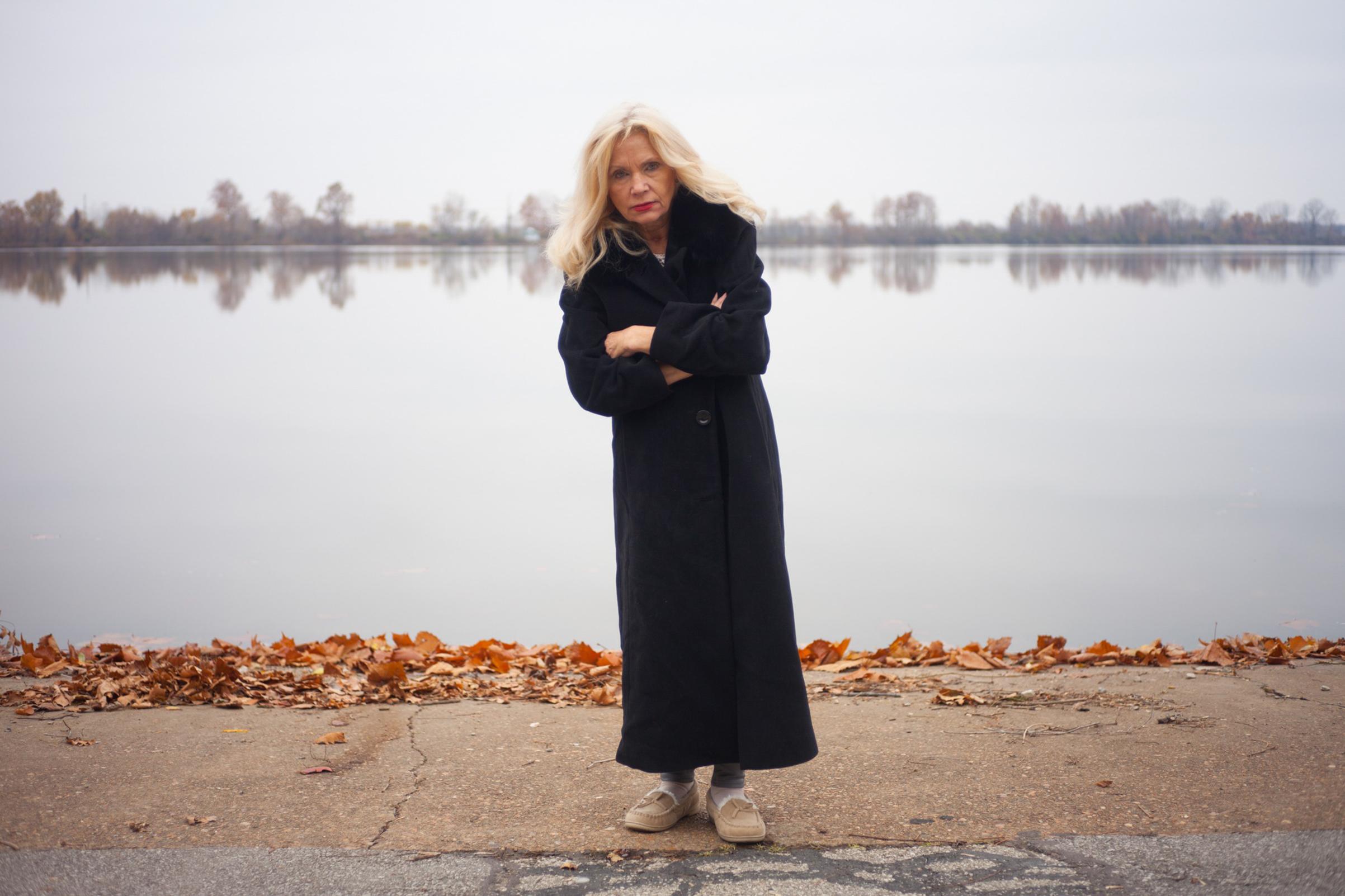Deborah Adams, the photographer's mother, at Creve Coeur Lake in Missouri, November2016