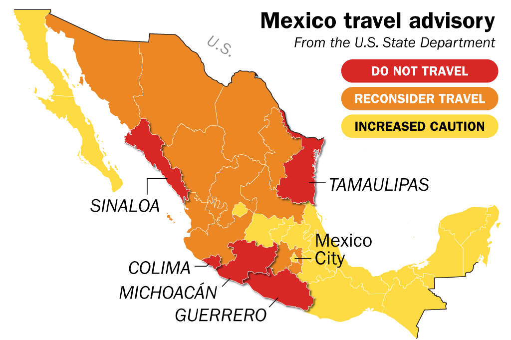 Mexico Travel Warning Map Shows State Department Advisories ...
