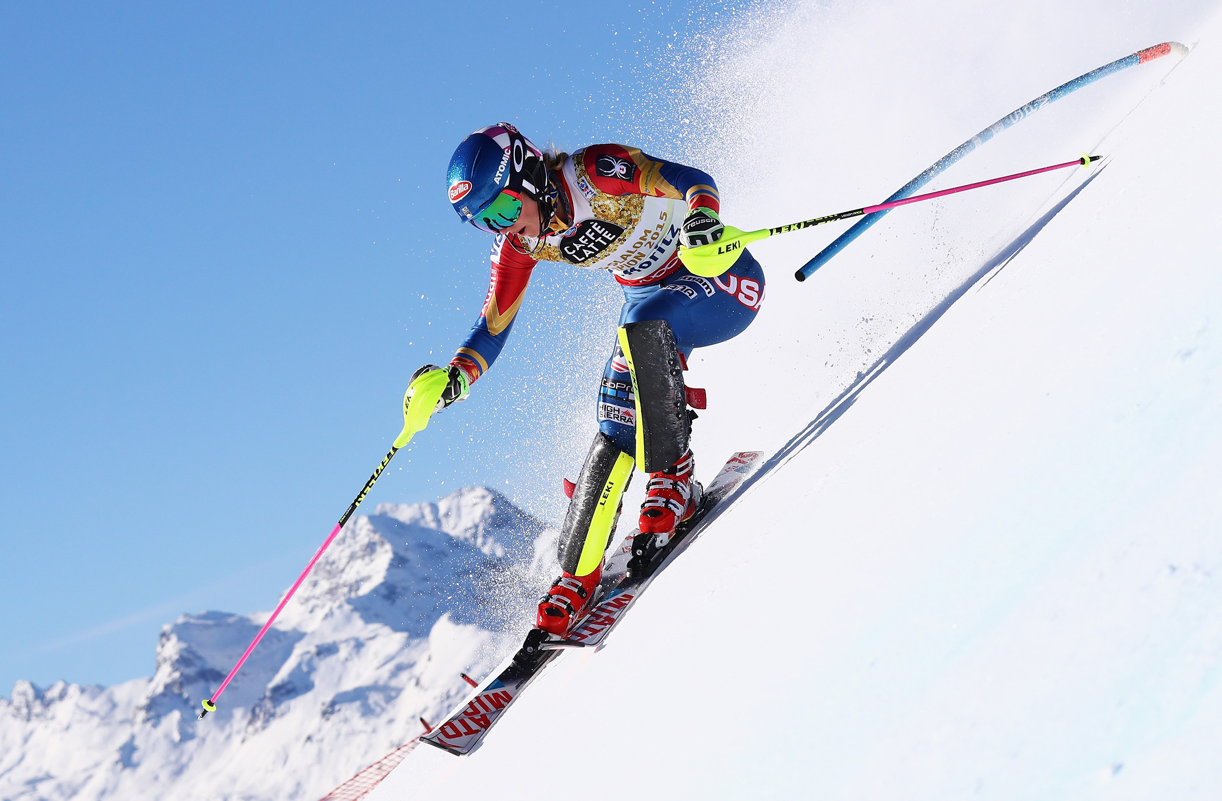 Shiffrin during her '17 world championship slalo race; she's chasing five Olympic medals