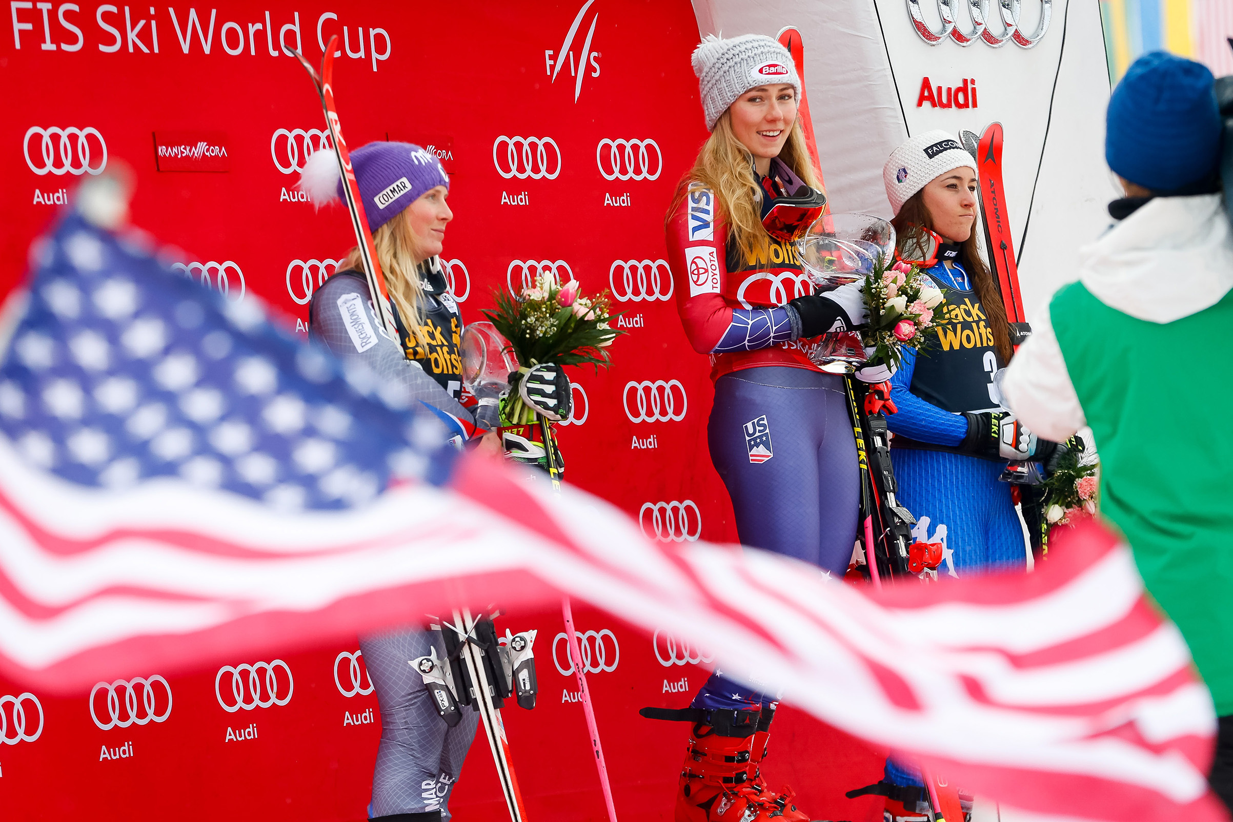 Shiffrin atop the podium at the World Cup giant-slalom race in Kranjska Gora, Slovenia, on Jan. 6