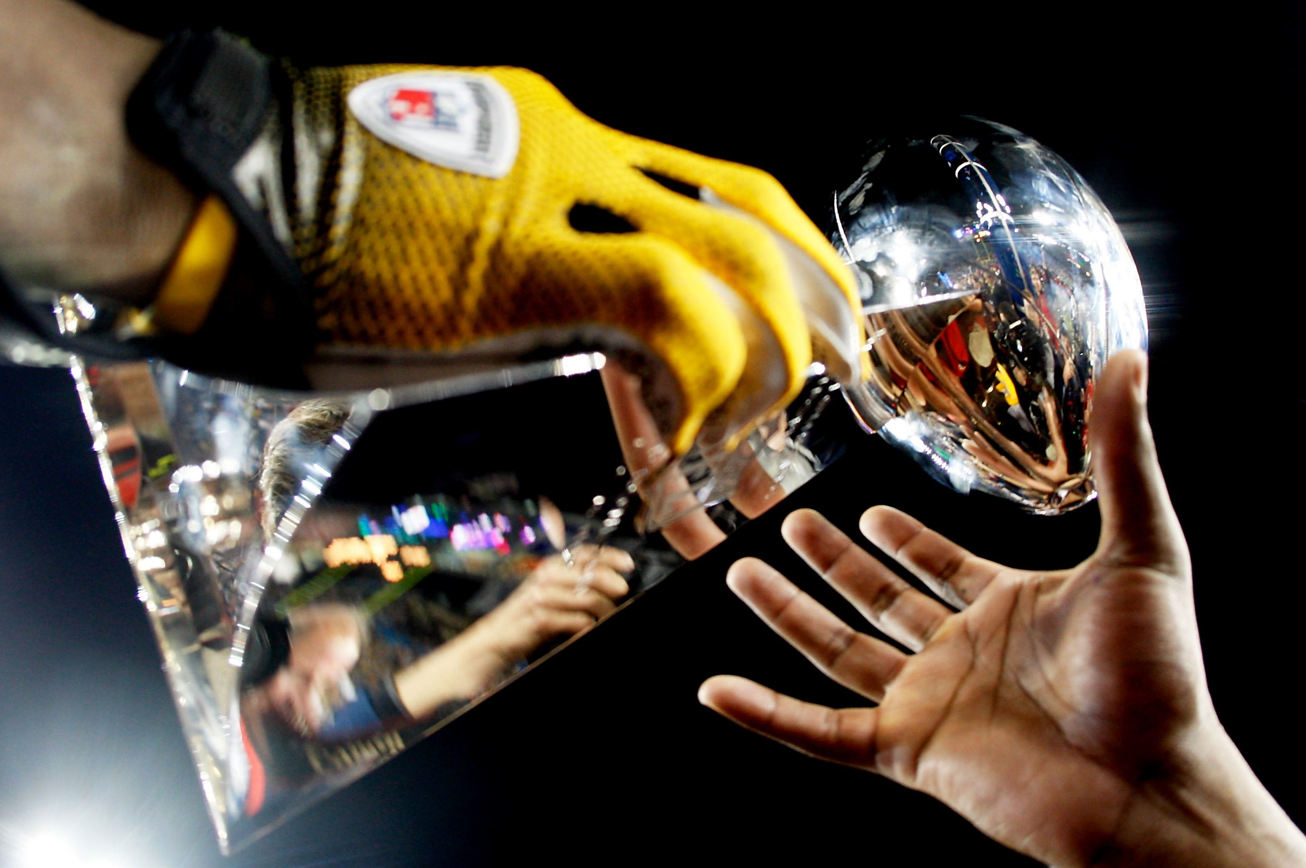 The Pittsburgh Steelers celebrate with the Vince Lombardi trophy after their Super Bowl XLIII win against the Arizona Cardinals on Feb. 1, 2009 at Raymond James Stadium in Tampa, Fla.