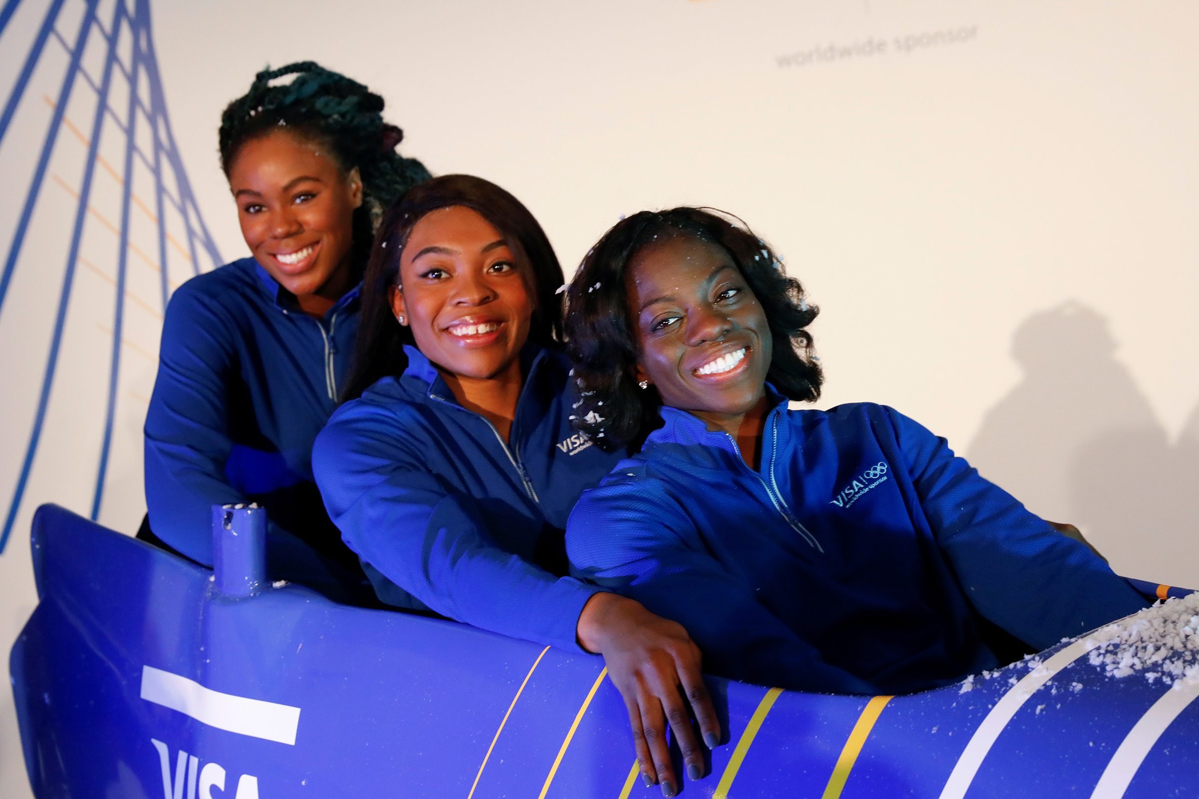 Seun Adigun, Ngozi Onwumere and Akuoma Omeoga, members of the Nigerian Women's Bobsled Team, during an event in New York on Dec. 7, 2017.