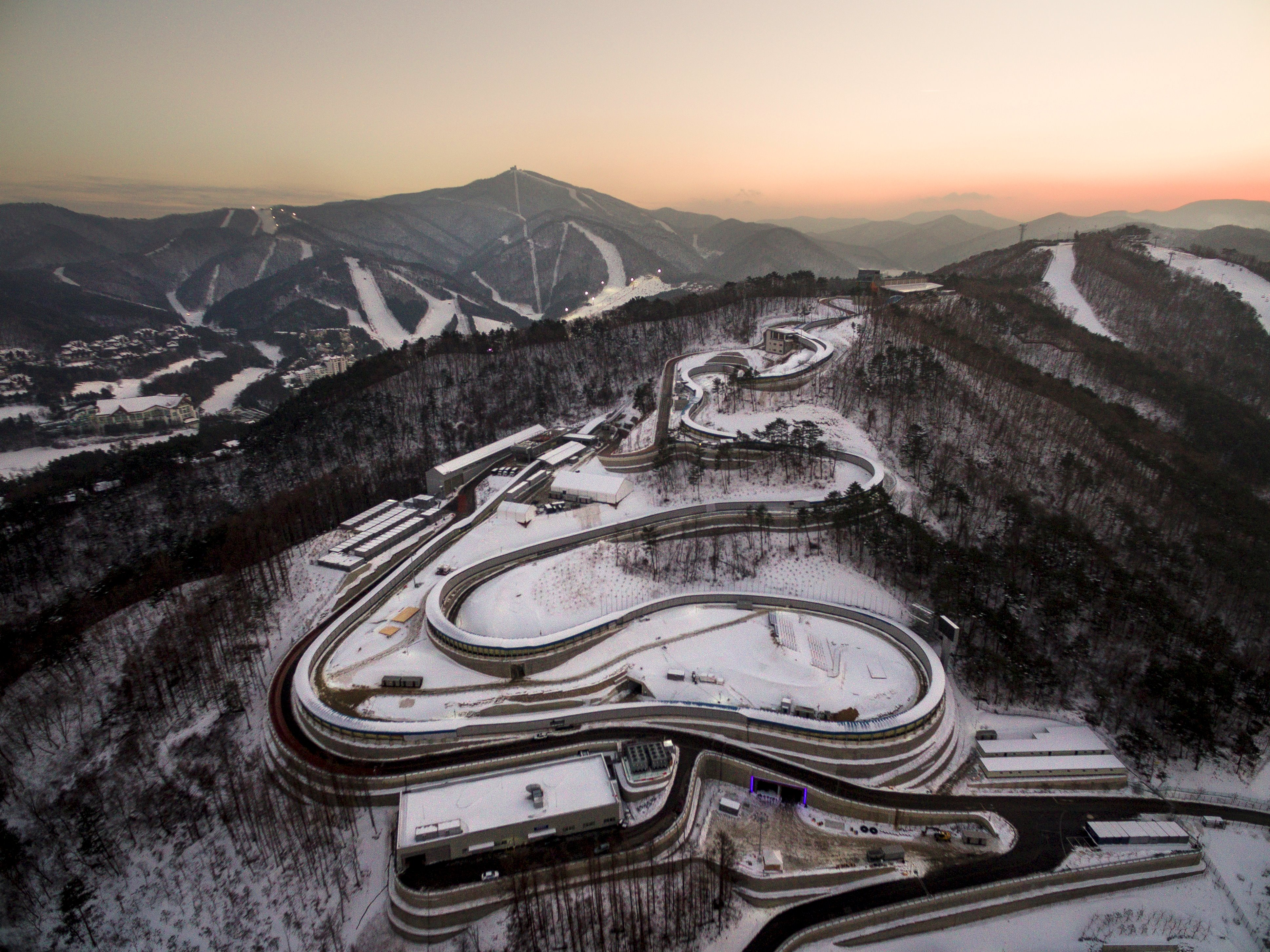 This picture taken on December 28, 2017 in PyeongChang shows the Olympic Sliding Centre, a venue for the 2018 PyeongChang Winter Olympics.