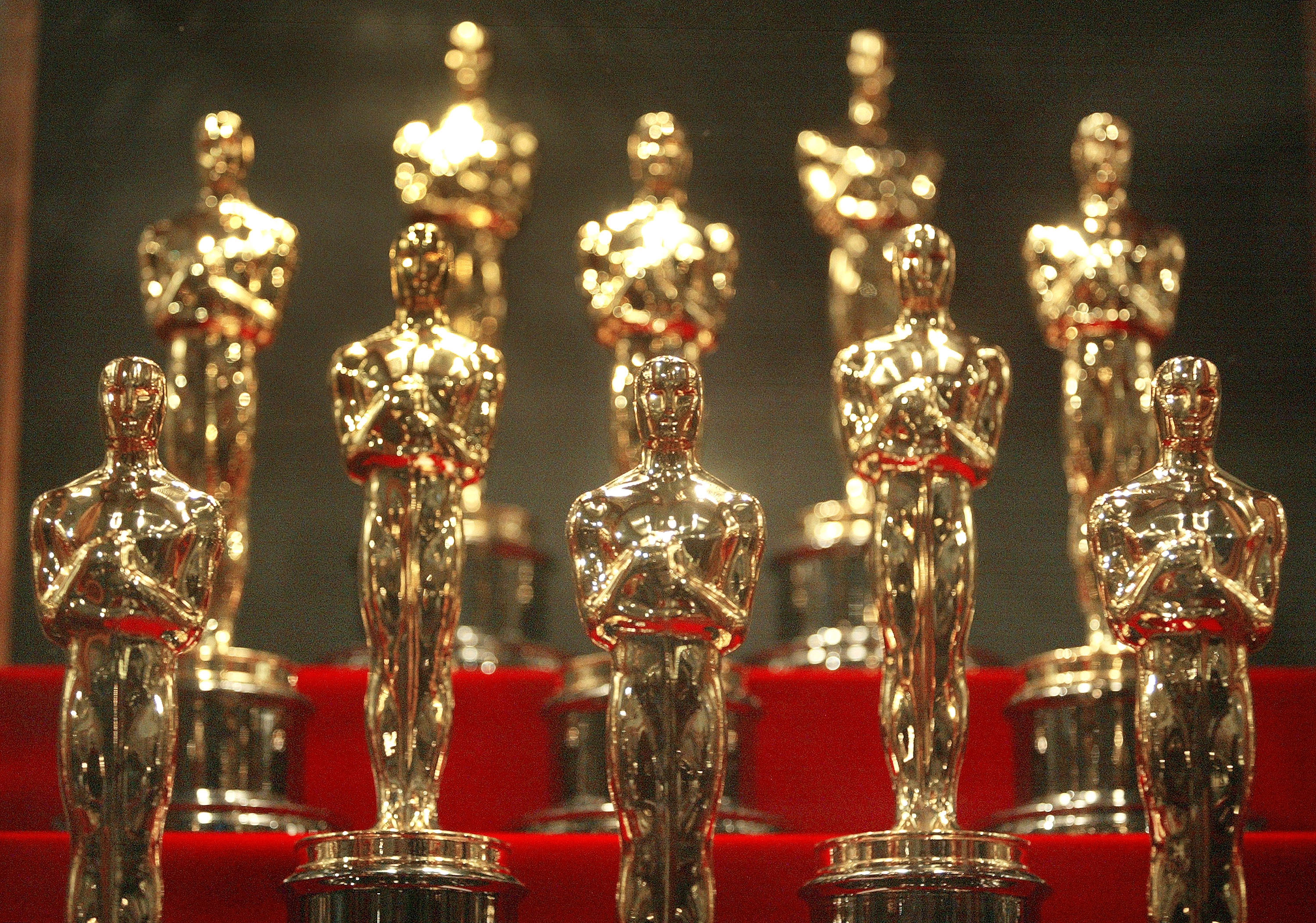Oscar statuettes are displayed at the Museum of Science and Industry in Chicago, Illinois.