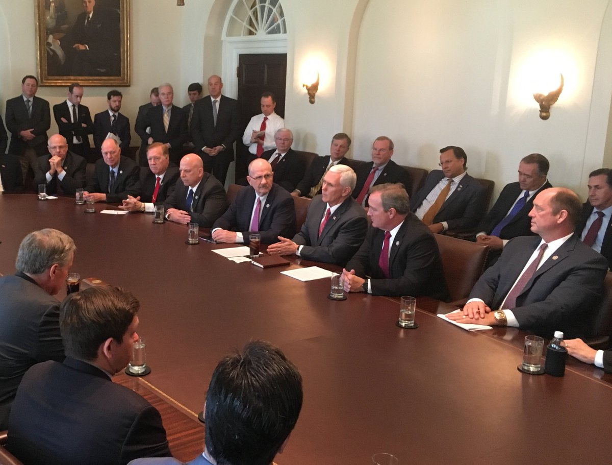 Trump and Vice President Mike Pence meet with the House Freedom Caucus.