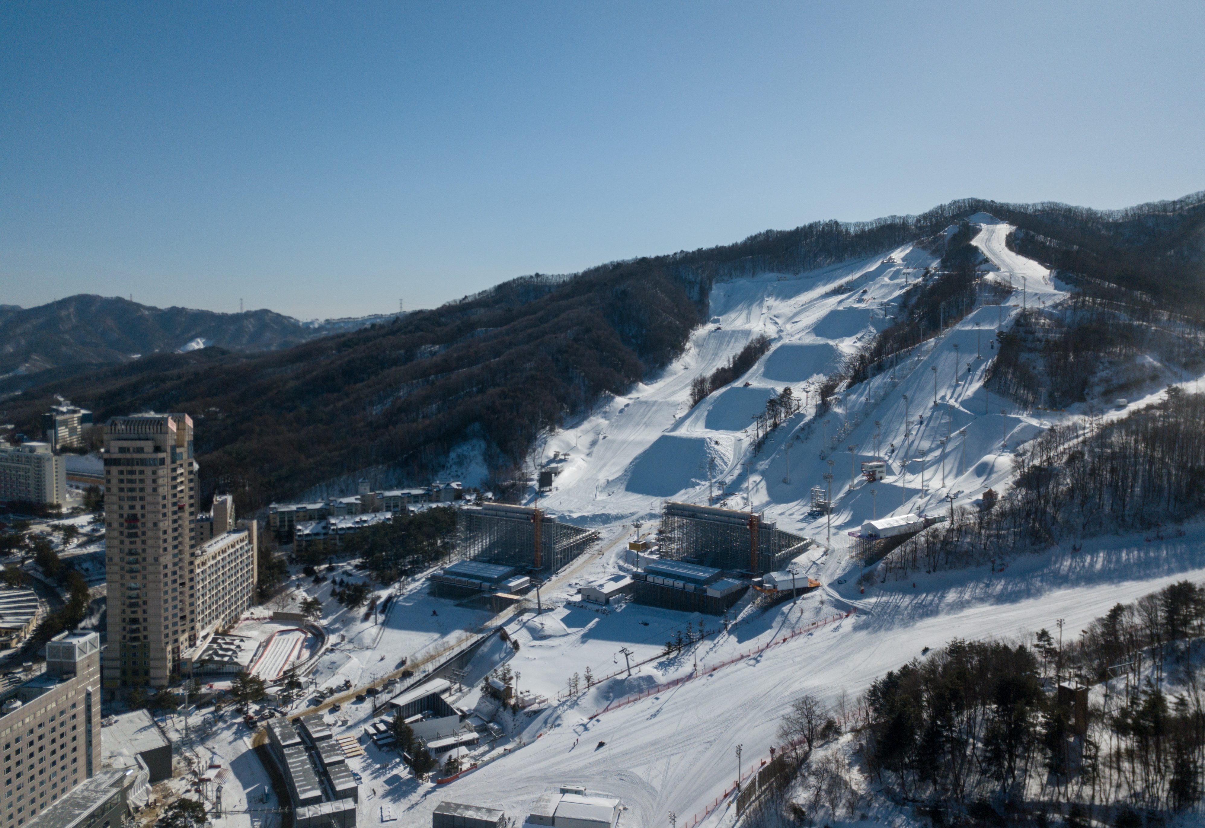 A general view shows the Phoenix Snow Park, in PyeongChang on January 24, 2018.