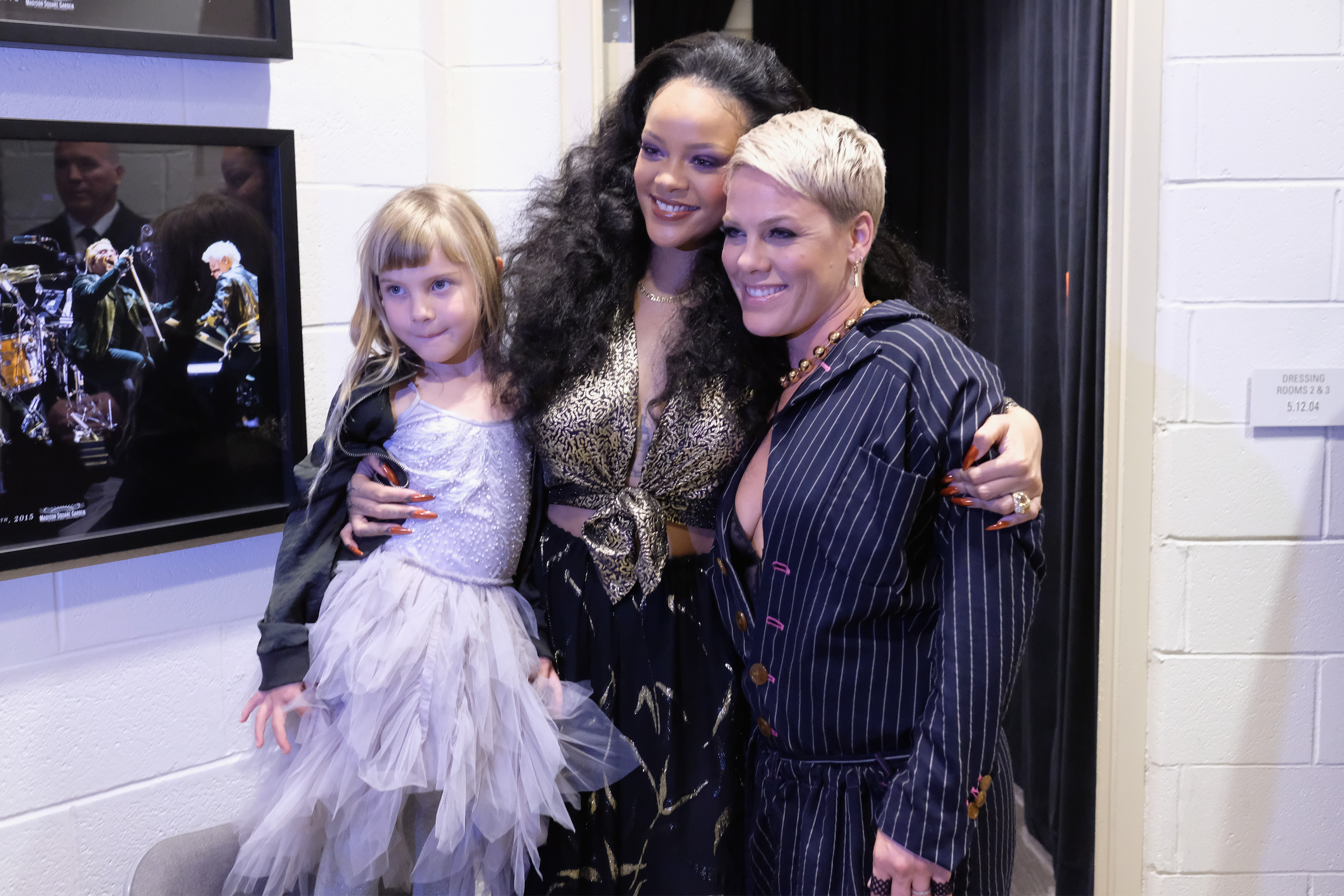Willow Hart, recording artists Rihanna and Pink backstage at the 60th Annual GRAMMY Awards at Madison Square Garden on January 28, 2018 in New York City.